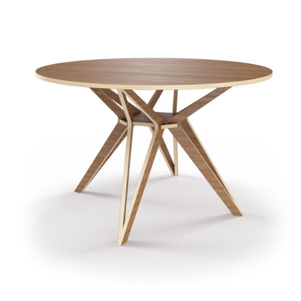 Стол HagforsОбеденные столы<br>Hagfors – это стол, необычный дизайн которого создаст изящный акцент в вашем интерьере. Отделка шпоном ореха. Сборка не требуется. Возможен в диаметрах 60, 90, 100, 120 и 148см.<br><br>Material: Фанера<br>Высота см: 75.0