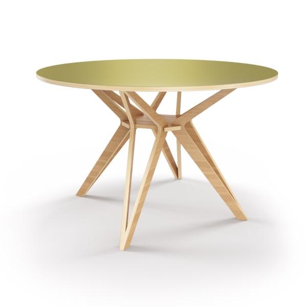 Стол HagforsОбеденные столы<br>Hagfors – это стол, необычный дизайн которого создаст изящный акцент в вашем интерьере. Окрас столешницы в оливковый цвет, отделка подстолья шпоном дуба. Сборка не требуется. Возможен в диаметрах 60, 90, 100, 120 и 148см.<br><br>Material: Фанера<br>Высота см: 75.0