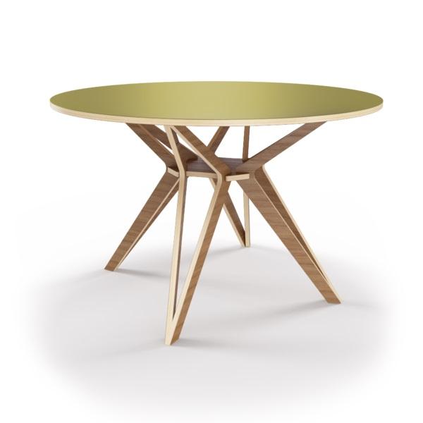 Стол HagforsОбеденные столы<br>Hagfors – это стол, необычный дизайн которого создаст изящный акцент в вашем интерьере. Окрас столешницы в оливковый цвет, отделка подстолья шпоном ореха. Сборка не требуется. Возможен в диаметрах 60, 90, 100, 120 и 148см.<br><br>Material: Фанера<br>Высота см: 75