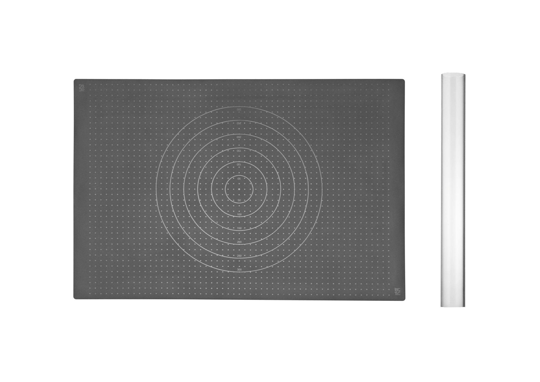 Набор из скалки и коврика для раскатыванияАксессуары для кухни<br>&amp;lt;div&amp;gt;Набор из скалки и коврика для раскатывания. Ролик: диаметр 5, длина 43, Коврик: ширина 40, длина 60. Набор из скалки и коврика для раскатывания станет незаменимым помощником на кухне. Коврик для раскатывания выдерживает температуру до 230 градусов, поэтому после раскатки теста Вам не придётся его перекладывать на другую поверхность - Вы можете запекать свое блюдо прямо на коврике. Если коврик не помещается в Вашу духовку - Вы можете отрезать ненужную часть от коврика. Скалка и коврик продуманы таким образом, чтобы тесто к ним не прилипало. После использования коврик складывается внутрь скалки, что позволяет сэкономить место для хранения на кухне. Допускается мытье в посудомоечной посуде как скалки, так и коврика.&amp;lt;/div&amp;gt;&amp;lt;div&amp;gt;&amp;lt;br&amp;gt;&amp;lt;/div&amp;gt;&amp;lt;div&amp;gt;Материал: силикон, пластик&amp;lt;/div&amp;gt;&amp;lt;div&amp;gt;&amp;lt;br&amp;gt;&amp;lt;/div&amp;gt;<br><br>Material: Пластик<br>Width см: скалка - 43, коврик - 60<br>Depth см: 40<br>Height см: 0.1<br>Diameter см: 5
