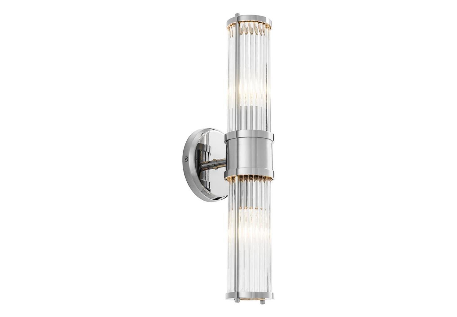 Настенный светильникБра<br>Настенный светильник Wall Lamp Claridges Double выполнен из никелированного металла. Плафон выполнен из фактурного прозрачного стекла.&amp;lt;div&amp;gt;&amp;lt;br&amp;gt;&amp;lt;/div&amp;gt;&amp;lt;div&amp;gt;&amp;lt;div&amp;gt;Тип цоколя: E14&amp;lt;/div&amp;gt;&amp;lt;div&amp;gt;Мощность: 40W&amp;lt;/div&amp;gt;&amp;lt;div&amp;gt;Кол-во ламп: 2 &amp;amp;nbsp;(нет в комплекте)&amp;lt;/div&amp;gt;&amp;lt;/div&amp;gt;<br><br>Material: Металл<br>Width см: 12<br>Depth см: 13<br>Height см: 46,5