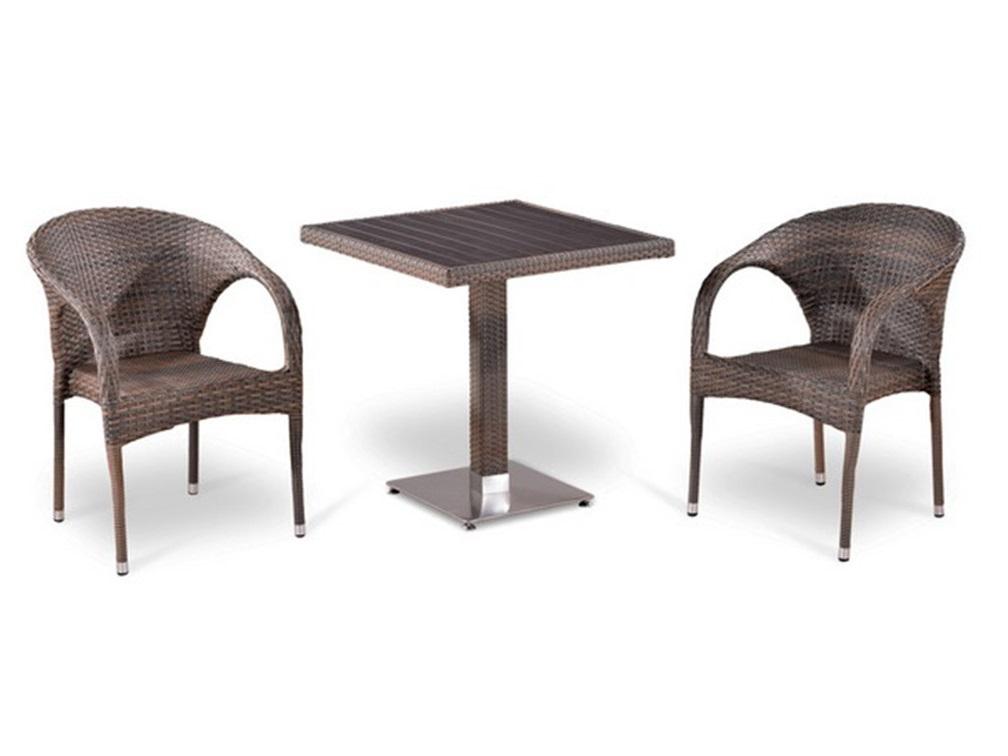 Комплект мебелиКомплекты уличной мебели<br>Стол: L70xW70xH74 см.<br>Столешница: древесно-полимерный композит&amp;lt;div&amp;gt;Кресло: W59xD63xH81  см.  <br>Каркас: сталь. <br>Материал: искусственный ротанг&amp;amp;nbsp;&amp;lt;/div&amp;gt;<br><br>Material: Искусственный ротанг<br>Высота см: 74