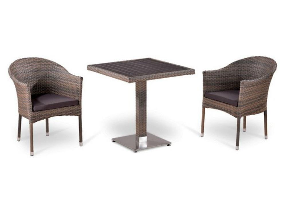 Комплект мебелиКомплекты уличной мебели<br>Стол: L70xW70xH74 см.<br>Столешница: древесно-полимерный композит&amp;amp;nbsp;&amp;lt;div&amp;gt;Кресло: W57xD61xH79  см.<br>Каркас: сталь. <br>Материал: искусственный ротанг&amp;amp;nbsp;&amp;lt;/div&amp;gt;<br><br>Material: Искусственный ротанг<br>Высота см: 74