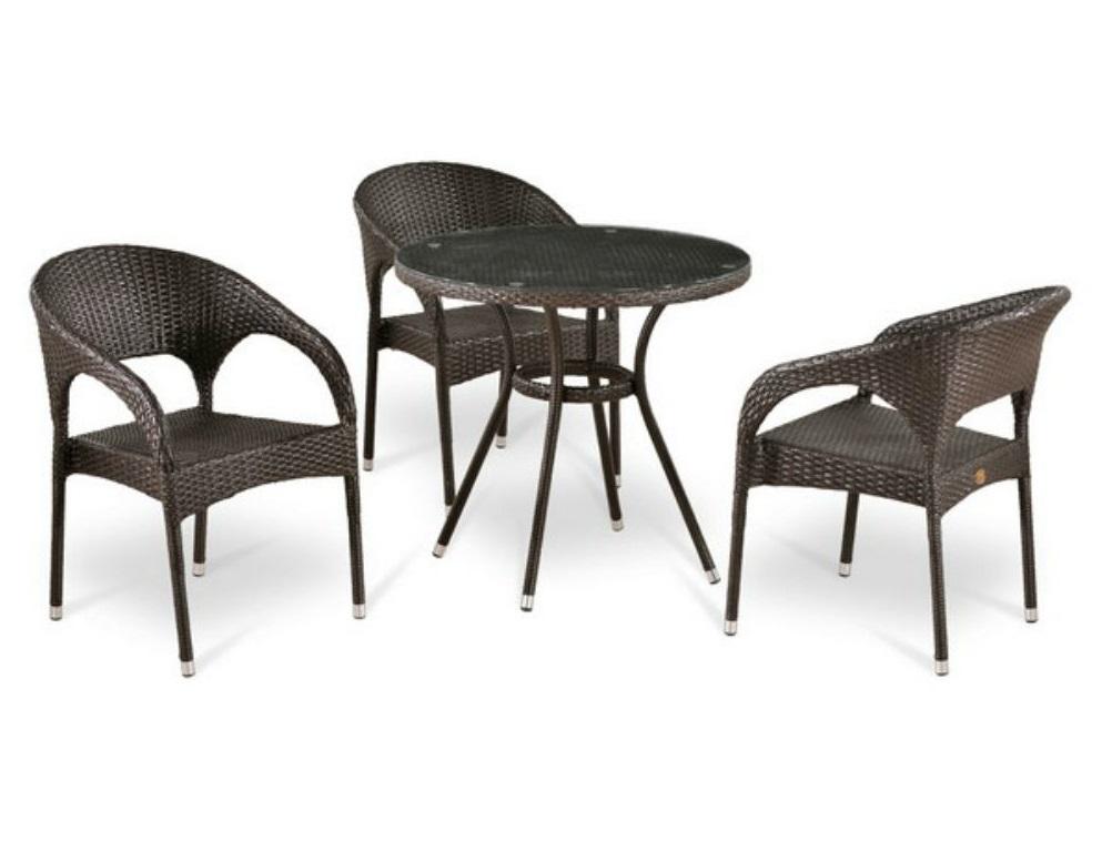 Набор мебелиКомплекты уличной мебели<br>Стол: D80xH74 см.  <br>Стекло: закаленное- 5мм, стекло сверху столешницы&amp;lt;div&amp;gt;Кресло:  W58xD63xH79  см. <br>Каркас: сталь. <br>Материал: искусственный ротанг.&amp;lt;/div&amp;gt;&amp;lt;div&amp;gt;&amp;lt;br&amp;gt;&amp;lt;/div&amp;gt;<br><br>Material: Ротанг<br>Width см: None<br>Depth см: None<br>Height см: 74<br>Diameter см: 80