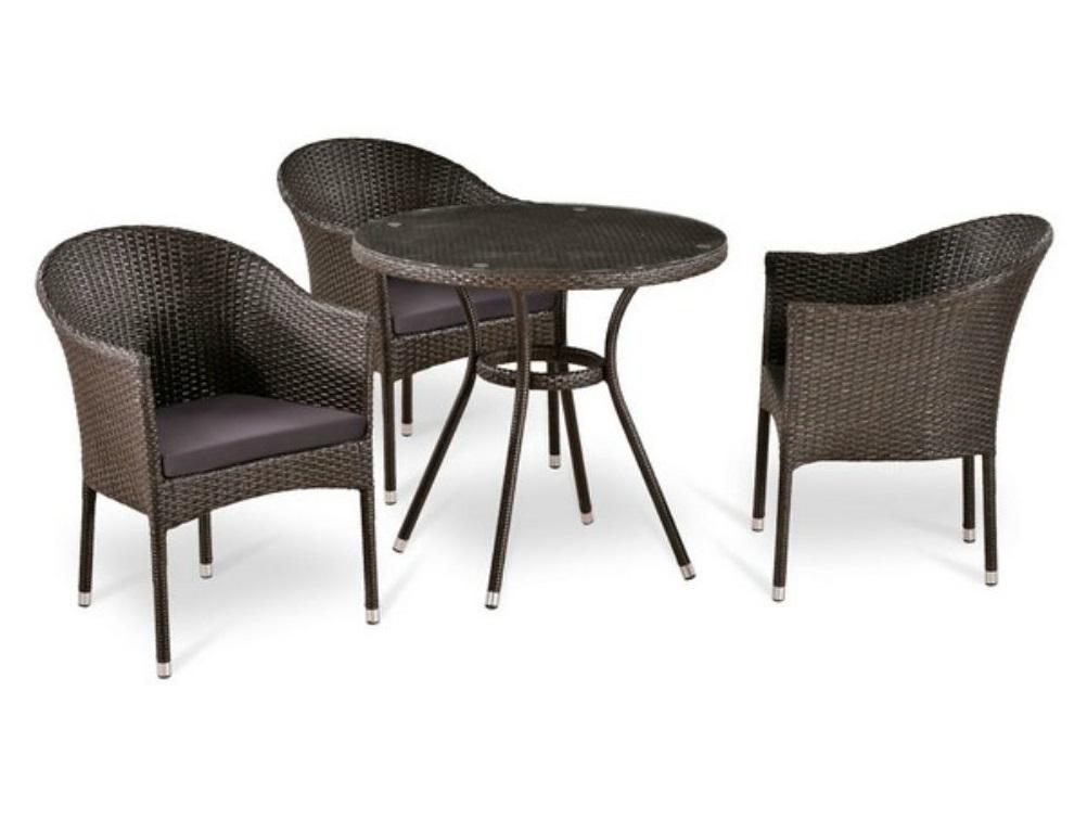 Набор мебели  T283ANT (W51)/Комплекты уличной мебели<br>Стол: D80xH74 см.  <br>Стекло: закаленное- 5мм, стекло сверху столешницы&amp;lt;div&amp;gt;Кресло:  W57xD61xH79  см. <br>Каркас: сталь. <br>Материал: искусственный ротанг.&amp;amp;nbsp;&amp;lt;/div&amp;gt;<br><br>Material: Ротанг<br>Width см: None<br>Depth см: None<br>Height см: 74<br>Diameter см: 80