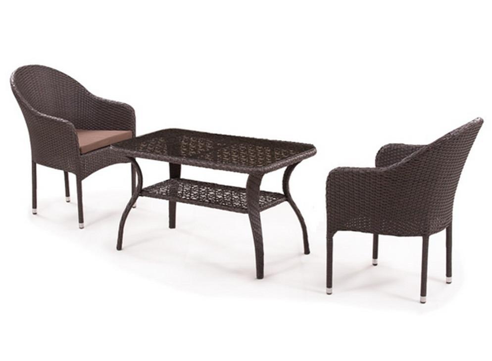 Набор мебелиКомплекты уличной мебели<br>Кресло: W58xD63xH86 см.                              <br>Стол: L98xW58xH55 см. <br>Стекло: закаленное-5мм.&amp;amp;nbsp;&amp;lt;div&amp;gt;Каркас: сталь. <br>Материал: искусственный ротанг. Подушки для сидения (4см.) в комплекте.&amp;amp;nbsp;&amp;lt;/div&amp;gt;<br><br>Material: Искусственный ротанг<br>Ширина см: 98<br>Высота см: 55<br>Глубина см: 58