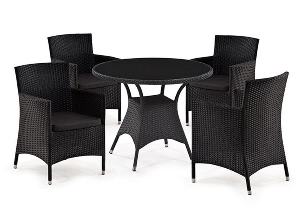Комплект мебелиКомплекты уличной мебели<br>Стол: D96xH74 см.                                          <br>Стекло:закаленное-6 мм. (Тонированное,черное).&amp;amp;nbsp;&amp;lt;div&amp;gt;Кресло: W60xD63xH87   см.                              <br>Каркас: сталь.  <br>Материал: искусственный ротанг.&amp;amp;nbsp;&amp;lt;/div&amp;gt;&amp;lt;div&amp;gt;Подушки для сидения (4см.) в комплекте.&amp;amp;nbsp;&amp;lt;/div&amp;gt;<br><br>Material: Искусственный ротанг<br>Высота см: 74