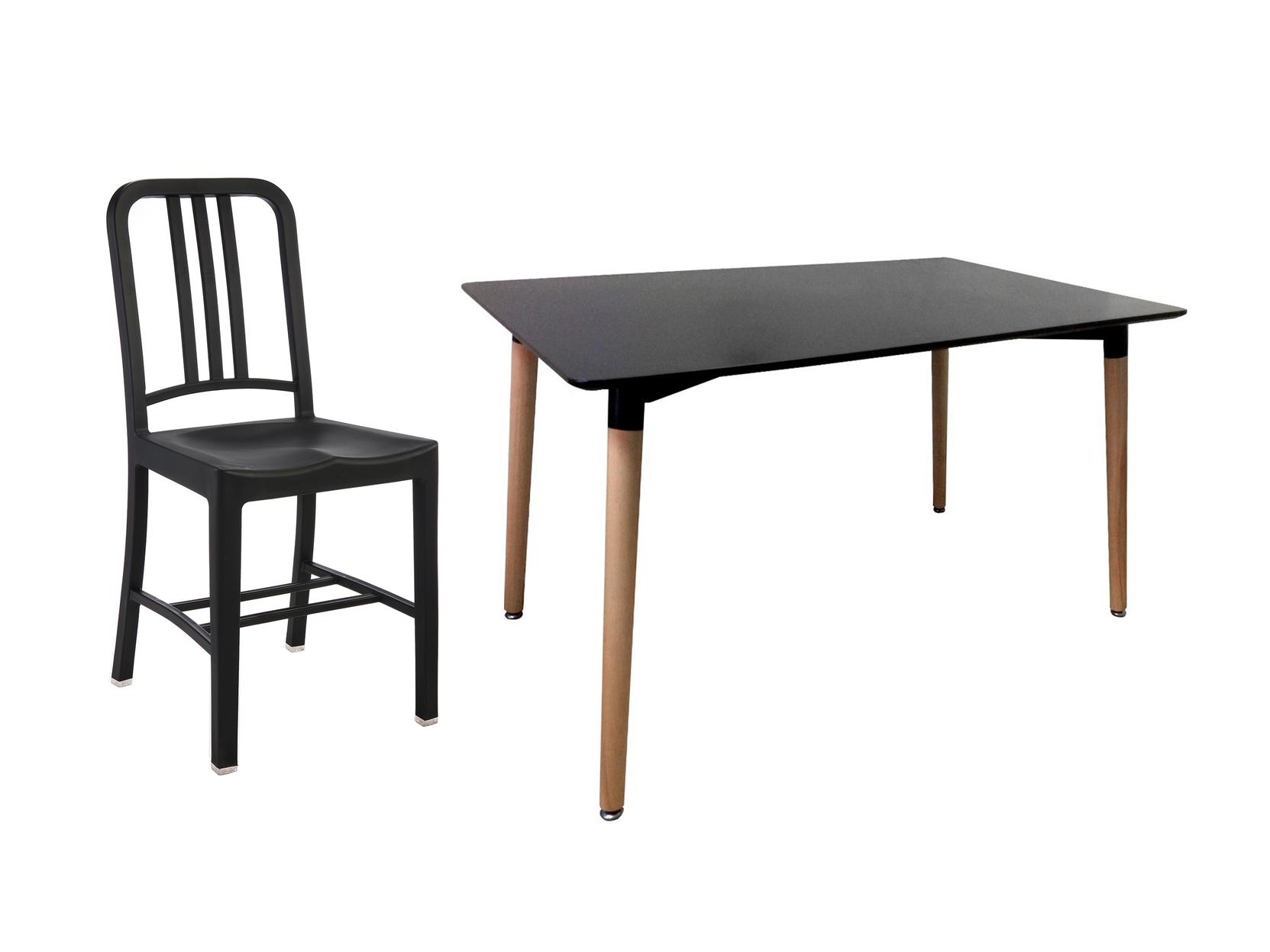 Обеденная группа Манон (стол + 4 стула)Комплекты для столовой<br>Минимализм - современный стиль, в котором ценится сочетание удобства и практичности. Именно поэтому лаконичный дизайн, простота форм и монохромность цветов станут идеальным дополнением любого интерьера. Стулья коллекции «Манон», изготовленные из прочного поликарбоната, идеальны в комплекте с обеденным столом Плавные линии, который станет выразительным акцентом для любой обстановки.Размеры стола: 120/80/73Материал стола: МДФРазмеры стула: 43/39/88Материал стула: пластик<br><br>kit: None<br>gender: None