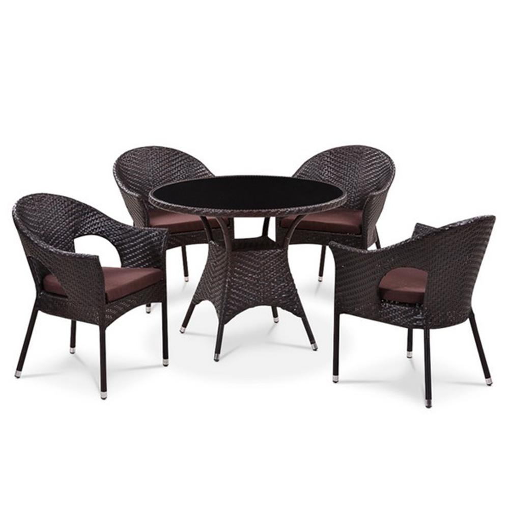 Комплект мебелиКомплекты уличной мебели<br>Стол: D96xH74 см.&amp;nbsp;Стекло: закаленное - 6 мм. (Тонированное, черное).&amp;nbsp;Кресло (4шт.): W62xD58xH82  см.&amp;nbsp;Каркас: сталь.&amp;nbsp;Материал: искусственный ротанг.                                                     <br>Цвет: Brown.&amp;nbsp;Подушки для сидения (4см.) в комплекте. <br>Объем: кресло - 0,3, стол - 0,7<br><br>kit: None<br>gender: None