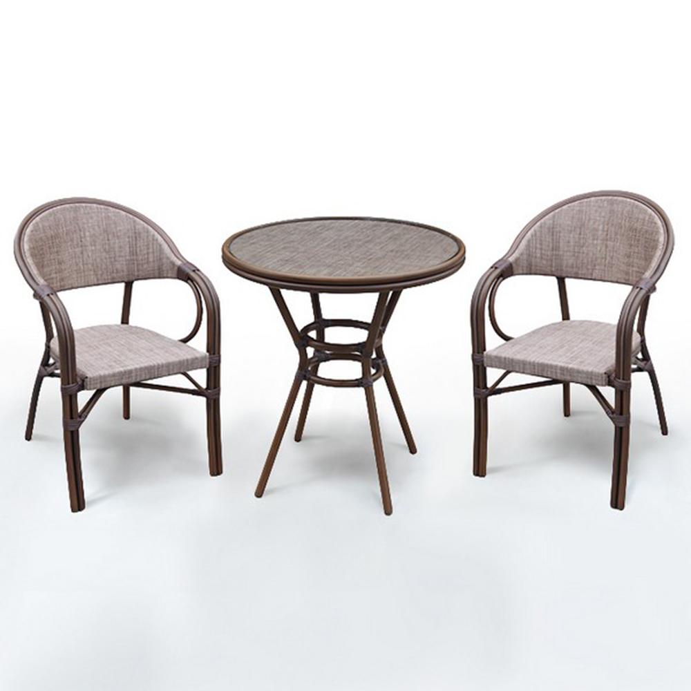 Набор мебелиКомплекты уличной мебели<br>Стол: D70xH74 см.&amp;amp;nbsp;&amp;lt;div&amp;gt;Стекло: закаленное- 5 мм.&amp;amp;nbsp;&amp;lt;/div&amp;gt;&amp;lt;div&amp;gt;&amp;lt;span style=&amp;quot;font-size: 14px;&amp;quot;&amp;gt;Каркас: алюминий D28х1,5 мм с полимерным покрытием.&amp;amp;nbsp;&amp;lt;/span&amp;gt;&amp;lt;/div&amp;gt;&amp;lt;div&amp;gt;Столешница текстилен 4х4.&amp;amp;nbsp;&amp;lt;/div&amp;gt;&amp;lt;div&amp;gt;&amp;lt;br&amp;gt;&amp;lt;/div&amp;gt;&amp;lt;div&amp;gt;Кресло&amp;amp;nbsp;&amp;lt;span style=&amp;quot;font-size: 14px;&amp;quot;&amp;gt;(2шт.)&amp;lt;/span&amp;gt;&amp;lt;span style=&amp;quot;font-size: 14px;&amp;quot;&amp;gt;: W57хВ57xH83 см.&amp;amp;nbsp;&amp;lt;/span&amp;gt;&amp;lt;/div&amp;gt;&amp;lt;div&amp;gt;Каркас: алюминий D24/24х1,5 мм с полимерным покрытием.&amp;amp;nbsp;&amp;lt;/div&amp;gt;&amp;lt;div&amp;gt;Материал: текстилен 2х1&amp;amp;nbsp;&amp;lt;/div&amp;gt;&amp;lt;div&amp;gt;Цвет: cappuccino&amp;lt;/div&amp;gt;<br><br>Material: Искусственный ротанг<br>Ширина см: 57<br>Высота см: 83<br>Глубина см: 57