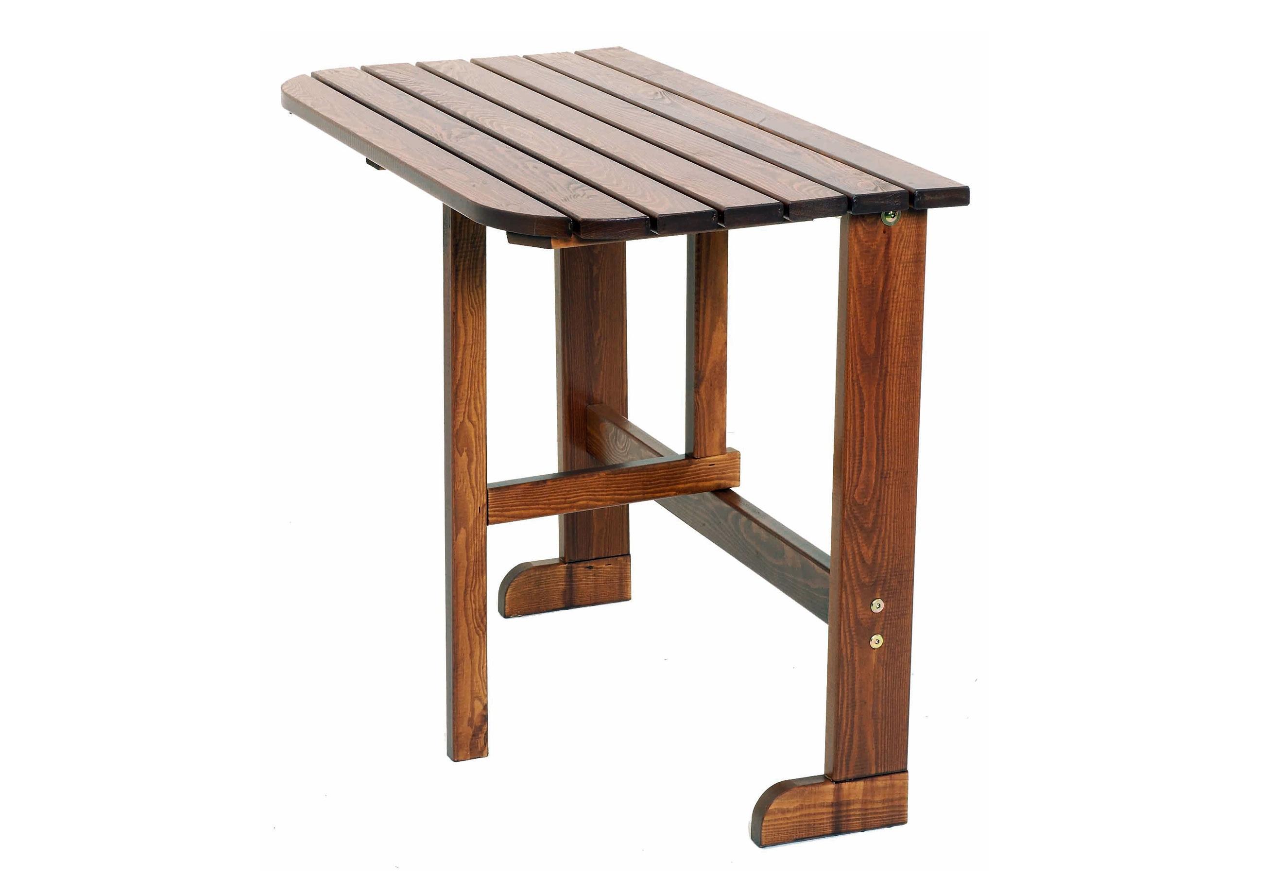Балконный столик TwiggyПриставные столики<br>Приставной столик Twiggy выполнен из массива сосны, окрашенного в цвет капучино. Если вы захотите почитать любимую книгу на свежем воздухе или на балконе, то этот столик именно то, что Вам нужно. Столик быстро и компактно складывается, что позволит Вам хранить его без сильных потерь свободного пространства.<br><br>Material: Дерево<br>Length см: None<br>Width см: 90<br>Depth см: 50<br>Height см: 71