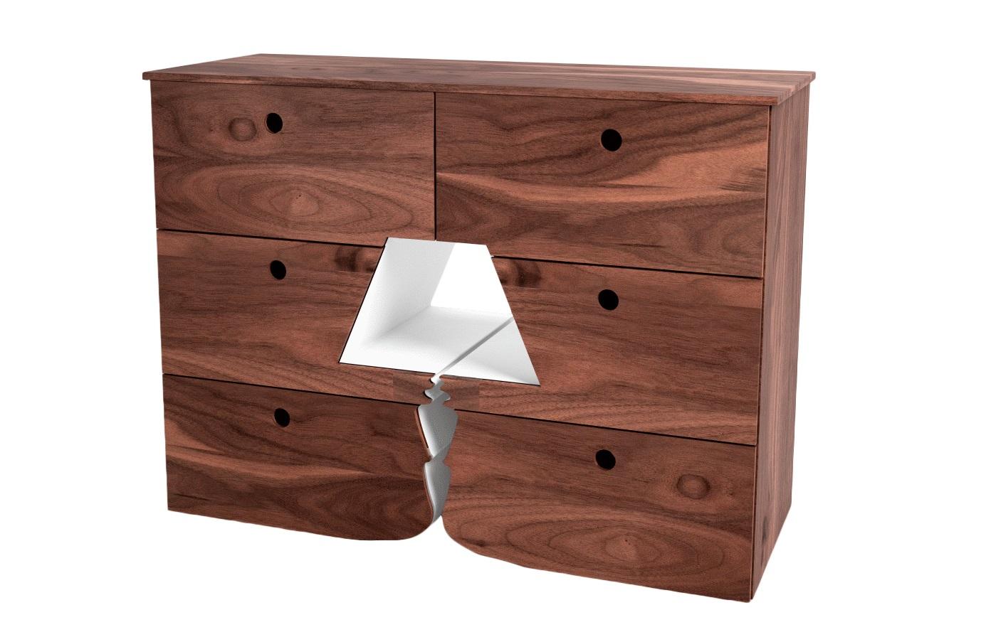Комод ЛампаБельевые комоды<br>Креативный и оригинальный комод со сквозным отверстием в форме лампы!<br>Ящики выдвигаются, комод функциональный<br>Материал: МДФ, шпон, эмаль<br>Установка не требуется<br><br>Material: МДФ<br>Width см: 123<br>Depth см: 45<br>Height см: 95