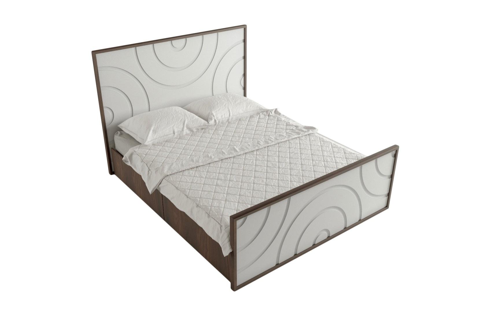 Кровать Круги на водеДеревянные кровати<br>Кровать имеет внизу 4 выдвижных ящика, покрыта натуральным шпоном<br>Выфрезерованный рисунок кругов олицетворяет падение капли и расходящие от нее круги<br>Матрас, постельное белье и подушки в стоимость не входят&amp;amp;nbsp;&amp;lt;div&amp;gt;&amp;lt;br&amp;gt;&amp;lt;/div&amp;gt;&amp;lt;div&amp;gt;Размер спального места: 200см на 160см&amp;amp;nbsp;&amp;lt;/div&amp;gt;&amp;lt;div&amp;gt;Материал: МДФ, шпон<br>Установка не требуется&amp;lt;/div&amp;gt;<br><br>Material: МДФ<br>Ширина см: 174.0<br>Высота см: 120.0<br>Глубина см: 209.0