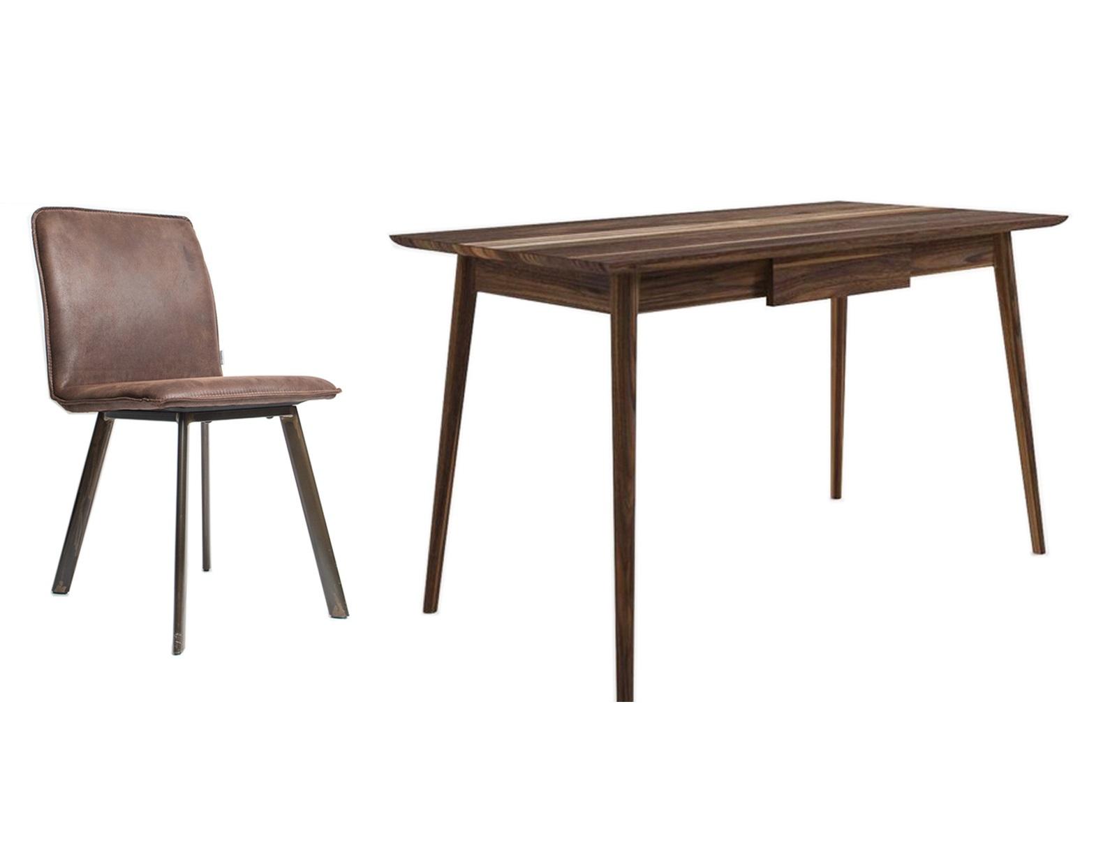 Обеденная группа Vintage (стол + 4 стула)Комплекты для столовой<br>&amp;lt;div&amp;gt;Если работать, то с удовольствием и комфортом. Письменный стол Vintage создан в лучших традициях минимализма. Визуальную лёгкость и изящество обеспечивают тонкие линии силуэта и отсутствие лишних деталей.&amp;amp;nbsp;&amp;lt;/div&amp;gt;&amp;lt;div&amp;gt;Простой и элегантный.&amp;amp;nbsp;&amp;lt;/div&amp;gt;&amp;lt;div&amp;gt;Cтул в стиле Loft с обивкой из высококачественной экозамши ( Recycled Leather)&amp;amp;nbsp;&amp;lt;br&amp;gt;&amp;lt;/div&amp;gt;&amp;lt;div&amp;gt;цвет Blackwater Texas Brown на металлическом каркасе.&amp;lt;/div&amp;gt;&amp;lt;div&amp;gt;&amp;lt;br&amp;gt;&amp;lt;/div&amp;gt;&amp;lt;div&amp;gt;Размеры стола:130/70/80 см&amp;lt;br&amp;gt;&amp;lt;/div&amp;gt;&amp;lt;div&amp;gt;Материал стола: Тик&amp;lt;br&amp;gt;&amp;lt;/div&amp;gt;&amp;lt;div&amp;gt;Размеры стула:47/56/87 см&amp;lt;br&amp;gt;&amp;lt;/div&amp;gt;&amp;lt;div&amp;gt;Материал стула: Кожа&amp;lt;br&amp;gt;&amp;lt;/div&amp;gt;&amp;lt;div&amp;gt;&amp;lt;br&amp;gt;&amp;lt;/div&amp;gt;<br><br>Material: Тик<br>Ширина см: 130<br>Высота см: 80<br>Глубина см: 70