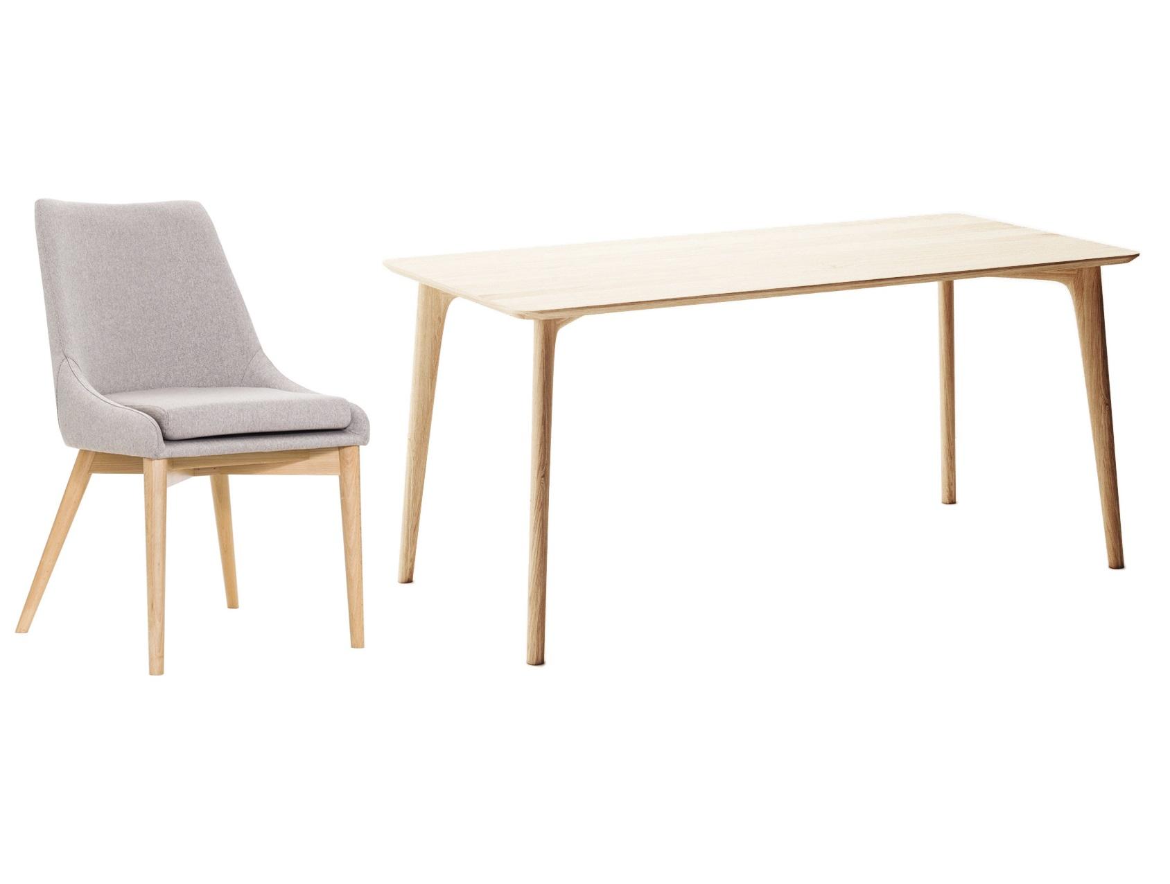 Обеденная группа Iggy (стол + 6 стульев)Комплекты для столовой<br>Обеденный стол Iggy - это лаконичный дизайн, изящные, эргономичные формы и благородная фактура дерева.Ножки выполнены из массива дуба и отвечают за его прочность и устойчивость.Столешница - шпонированный дуб. Размеры стола позволяют комфортно расположится большому количеству людей на современных полукреслах Marble.&amp;nbsp;&amp;nbsp;Экологически чистые материалы этих полукресел в сочетании с простой и легкой формой зададут настроение любому интерьеру, будь то гостиная или офисРазмеры стола: 160х75х80 смМатериал стола: массив дуба, МДФ, натуральный шпон дуба, лак.Размеры стула: 50х85х58 смМатериал стула: &amp;nbsp;дерево, текстиль<br><br><br>kit: None<br>gender: None