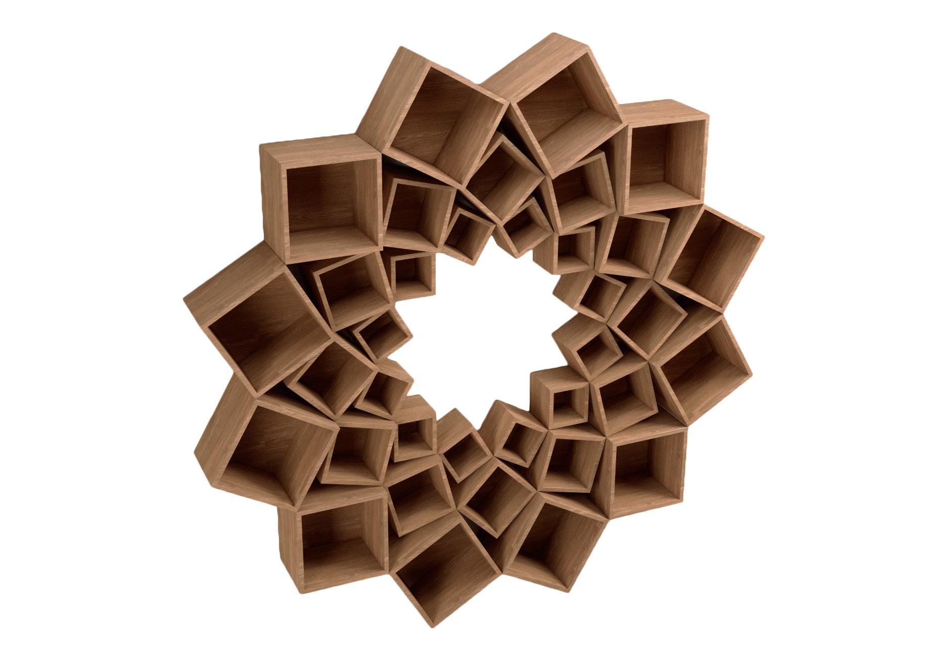 Стеллаж Лотос 3 кругаСтеллажи и этажерки<br>&amp;lt;div&amp;gt;Потрясающий стеллаж из трех кругов квадратов!&amp;amp;nbsp;&amp;lt;/div&amp;gt;&amp;lt;div&amp;gt;&amp;lt;br&amp;gt;&amp;lt;/div&amp;gt;&amp;lt;div&amp;gt;Материал: МДФ, шпон&amp;amp;nbsp;&amp;lt;/div&amp;gt;<br><br>Material: МДФ<br>Depth см: 30<br>Height см: 210<br>Diameter см: 210