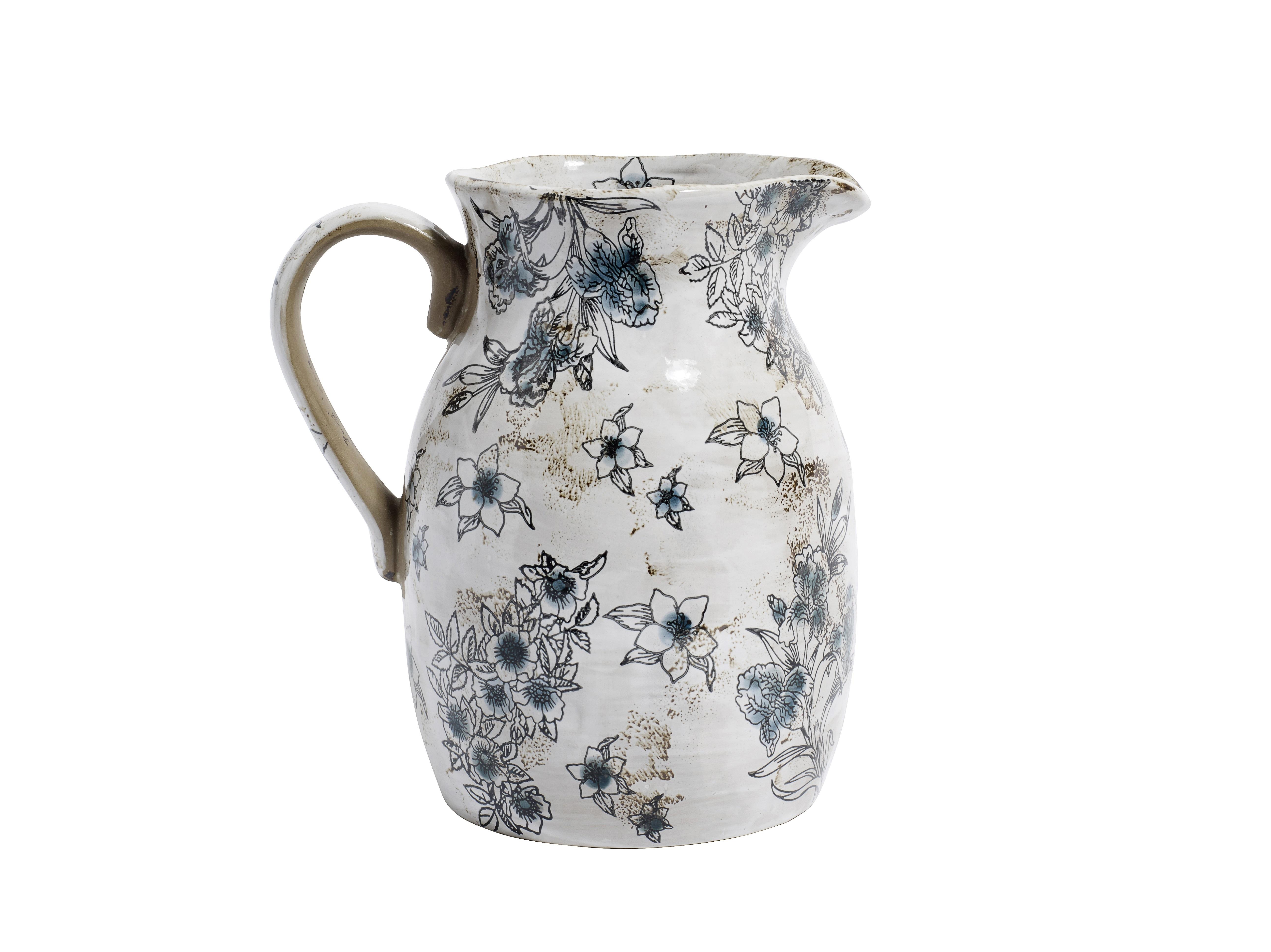 Кувшин FloweryКувшины и графины<br>Материал: каменная керамика<br><br>Material: Керамика<br>Width см: 19<br>Depth см: 10<br>Height см: 21