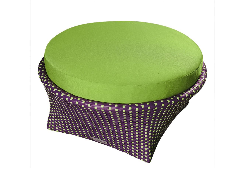 Оттоманка ЛандышиДиваны и оттоманки для сада<br>Экстравагантный стиль, дерзкий дизайн, неподражаемые формы – все это совмещено в коллекции мебели «Ландыши». Этот комплект мебели способен расставить решительные акценты в любом интерьере, создать особый неповторимый, исключительно Ваш стиль!<br>Оттоманка из коллекции «Ландыши» может стоять на улице круглый год. Не боятся влаги и мороза.&amp;amp;nbsp;&amp;lt;div&amp;gt;&amp;lt;br&amp;gt;&amp;lt;/div&amp;gt;&amp;lt;div&amp;gt;Каркас не разборный, подушка входят в комплект.&amp;amp;nbsp;&amp;lt;/div&amp;gt;&amp;lt;div&amp;gt;Цвет плетения: темно-лиловый, цвет подушек: фисташковый.&amp;amp;nbsp;&amp;lt;/div&amp;gt;<br><br>Material: Искусственный ротанг<br>Height см: 35<br>Diameter см: 70