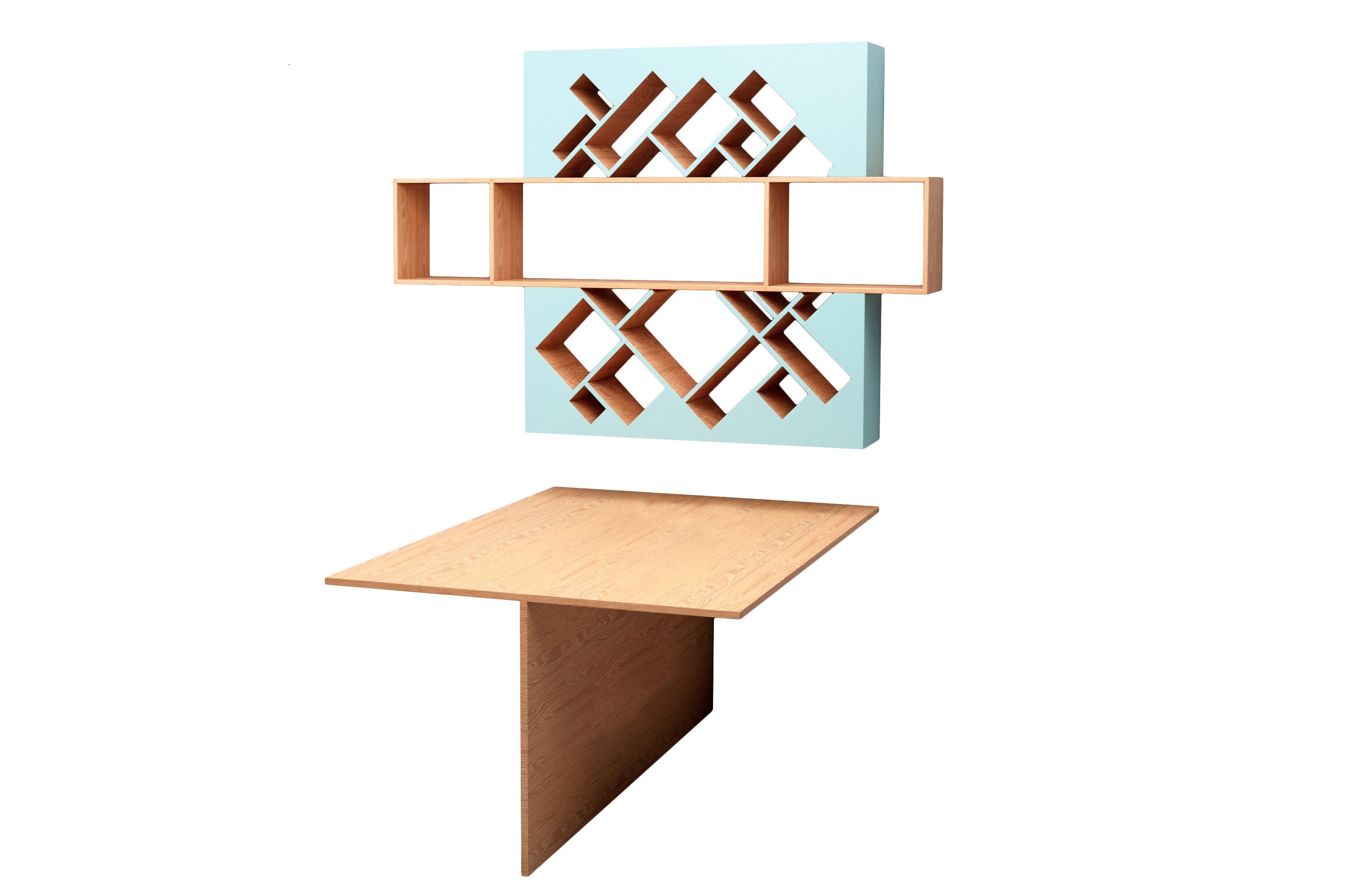 Рабочее место ГеометрияКомплекты мебели<br>Необычная полка оживит ваше рабочее место! Стол на две персоны&amp;amp;nbsp;&amp;lt;div&amp;gt;&amp;lt;br&amp;gt;&amp;lt;/div&amp;gt;&amp;lt;div&amp;gt;Размеры: стол - 115x162x75см;&amp;amp;nbsp;&amp;lt;/div&amp;gt;&amp;lt;div&amp;gt;Полка - 183x127x25см&amp;amp;nbsp;&amp;lt;/div&amp;gt;&amp;lt;div&amp;gt;Материал: МДФ, шпон&amp;amp;nbsp;&amp;lt;/div&amp;gt;<br><br>Material: МДФ<br>Ширина см: 183.0<br>Высота см: 127.0<br>Глубина см: 24.0