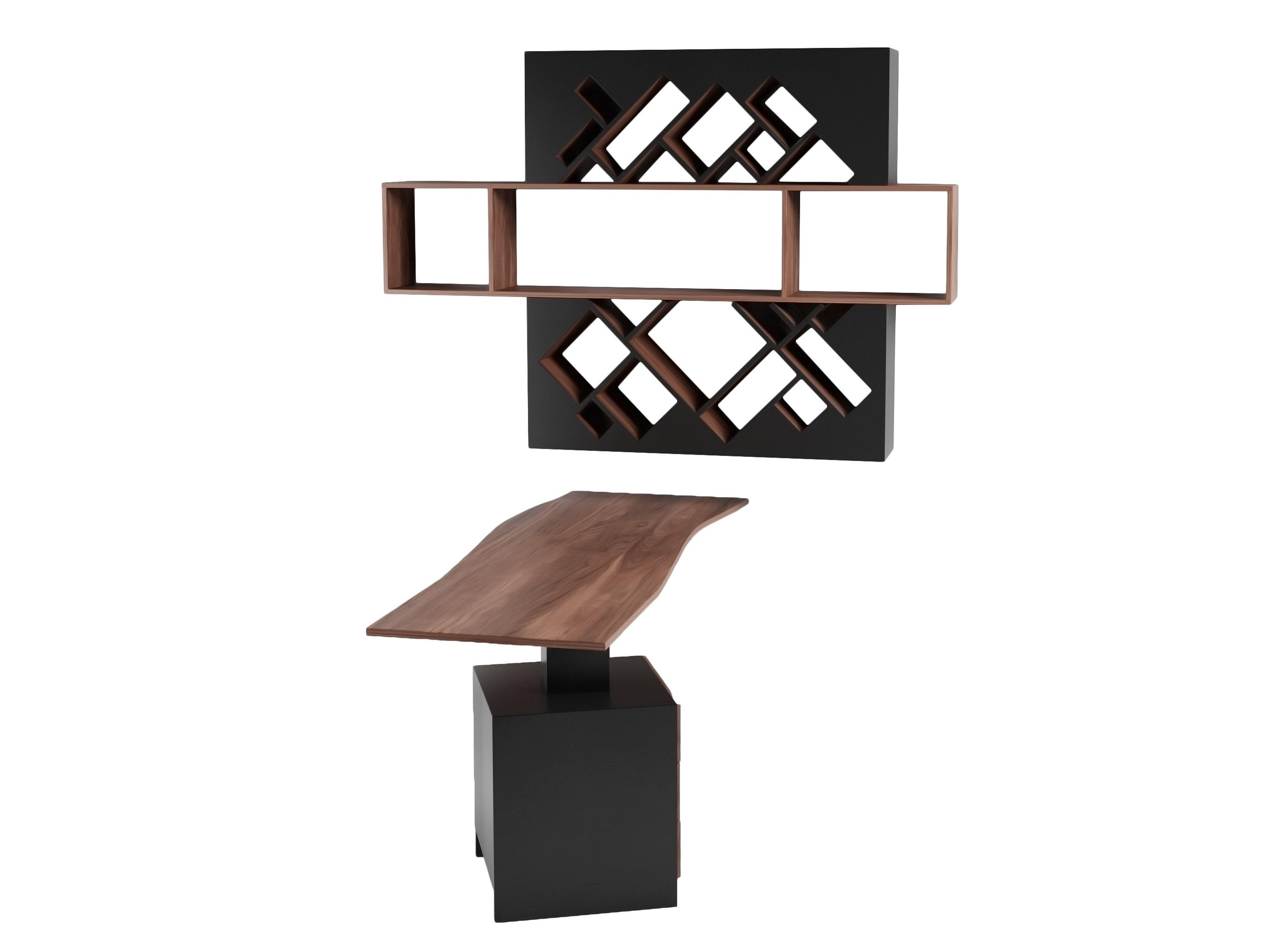 Рабочее место Геометрия ВолнаКомплекты мебели<br>Дизайнерское оригинальное рабочее место, состоит из стола с анатомической функциональной столешницей и креативной полки-стеллажа&amp;amp;nbsp;&amp;lt;div&amp;gt;&amp;lt;br&amp;gt;&amp;lt;/div&amp;gt;&amp;lt;div&amp;gt;Размеры: столешница 180x66x 75см,&amp;amp;nbsp;&amp;lt;/div&amp;gt;&amp;lt;div&amp;gt;полка 183x126x25см&amp;amp;nbsp;&amp;lt;/div&amp;gt;&amp;lt;div&amp;gt;Материал: МДФ, шпон&amp;lt;/div&amp;gt;<br><br>Material: МДФ<br>Ширина см: 183<br>Высота см: 126<br>Глубина см: 24