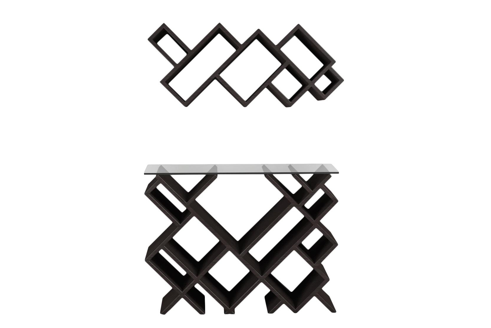 Комплект ГеометрияКомплекты мебели<br>Необычные, современные полка и столик преобразят ваш интерьер! <br>Размеры: <br>Верхняя часть - 85x 37x 24см<br>Нижняя часть - 85x 67x 24см<br>Материал: МДФ, шпон