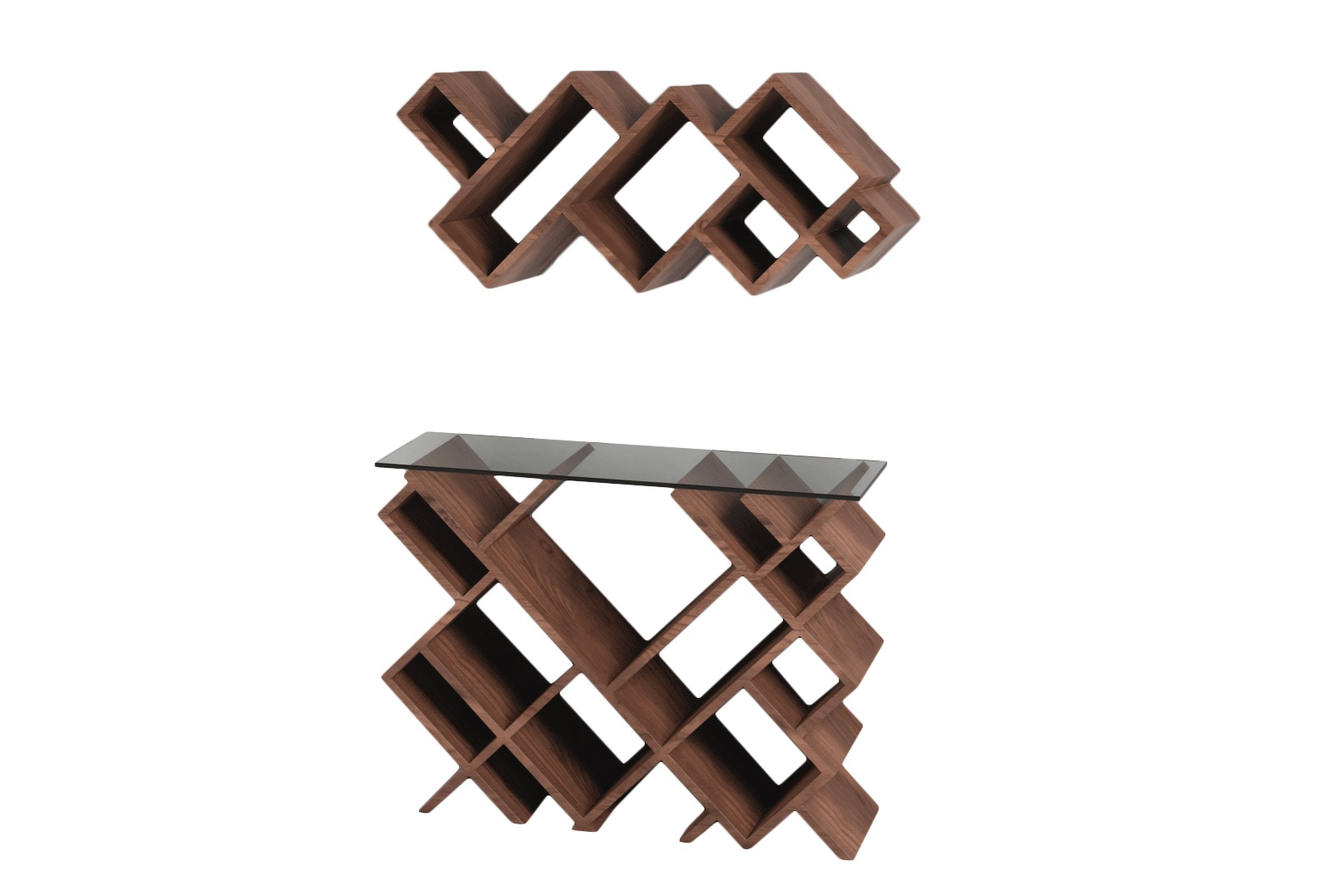 Комплект ГеометрияНеглубокие консоли<br>Необычные, современные полка и столик преобразят ваш интерьер!&amp;amp;nbsp;&amp;lt;div&amp;gt;&amp;lt;br&amp;gt;&amp;lt;/div&amp;gt;&amp;lt;div&amp;gt;Материал: МДФ, шпон&amp;amp;nbsp;&amp;lt;/div&amp;gt;&amp;lt;div&amp;gt;Размеры:&amp;amp;nbsp;&amp;lt;/div&amp;gt;&amp;lt;div&amp;gt;верхняя часть - 85x 37x 24см&amp;amp;nbsp;&amp;lt;/div&amp;gt;&amp;lt;div&amp;gt;Ннижняя часть - 85x 67x 24см&amp;lt;br&amp;gt;&amp;lt;/div&amp;gt;<br><br>Material: МДФ<br>Ширина см: 67.0<br>Высота см: 85.0<br>Глубина см: 24.0