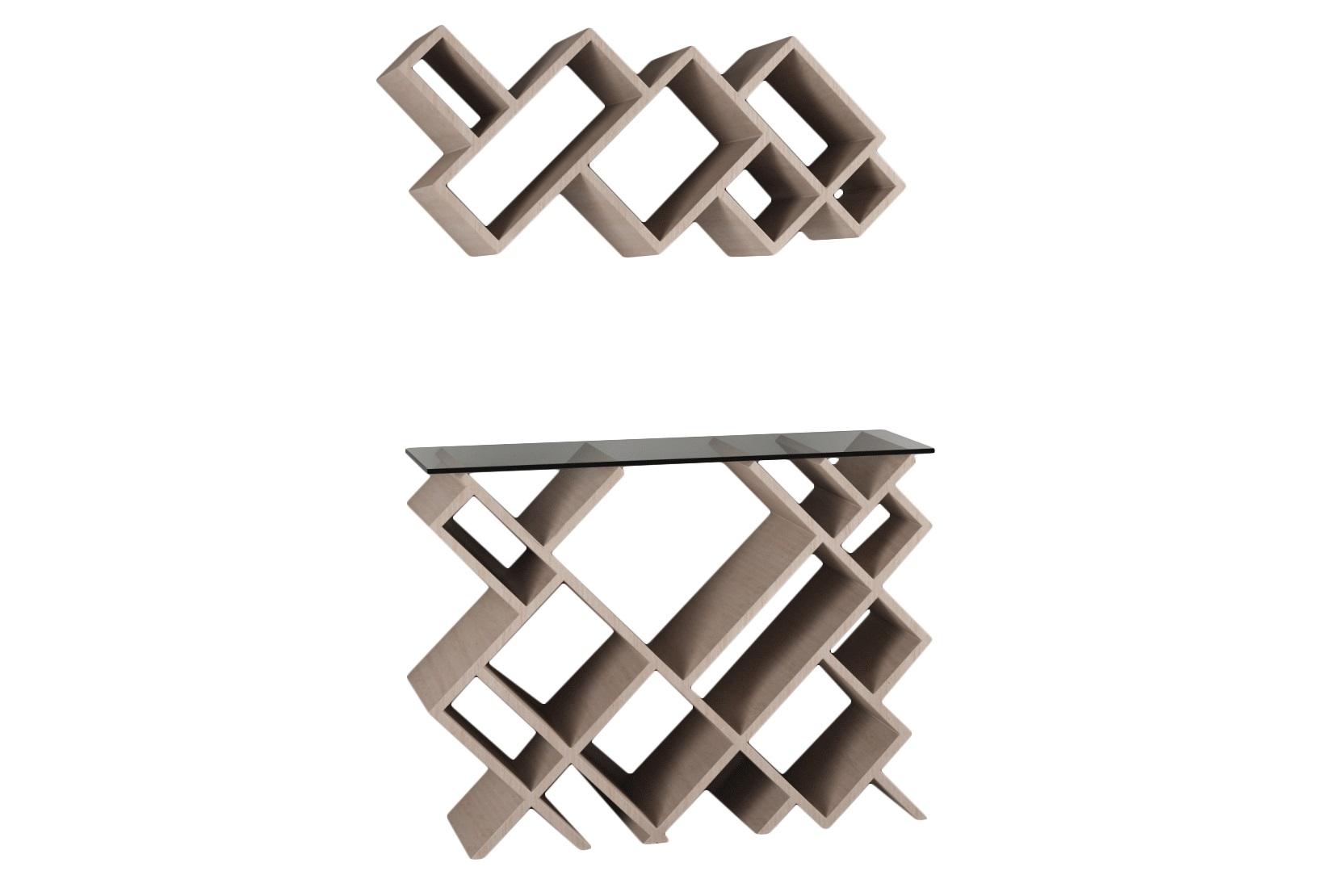 Комплект ГеометрияСтеллажи и этажерки<br>Необычные, современные полка и столик преобразят ваш интерьер!&amp;amp;nbsp;&amp;lt;div&amp;gt;&amp;lt;br&amp;gt;&amp;lt;/div&amp;gt;&amp;lt;div&amp;gt;Материал: МДФ, шпон&amp;amp;nbsp;&amp;lt;/div&amp;gt;&amp;lt;div&amp;gt;Установка требуется&amp;amp;nbsp;&amp;lt;/div&amp;gt;&amp;lt;div&amp;gt;Размеры: верхняя часть - 85x 37x24см;&amp;amp;nbsp;&amp;lt;/div&amp;gt;&amp;lt;div&amp;gt;Нижняя часть - 85x67x24см&amp;lt;/div&amp;gt;<br><br>Material: МДФ<br>Width см: 67<br>Depth см: 24<br>Height см: 85