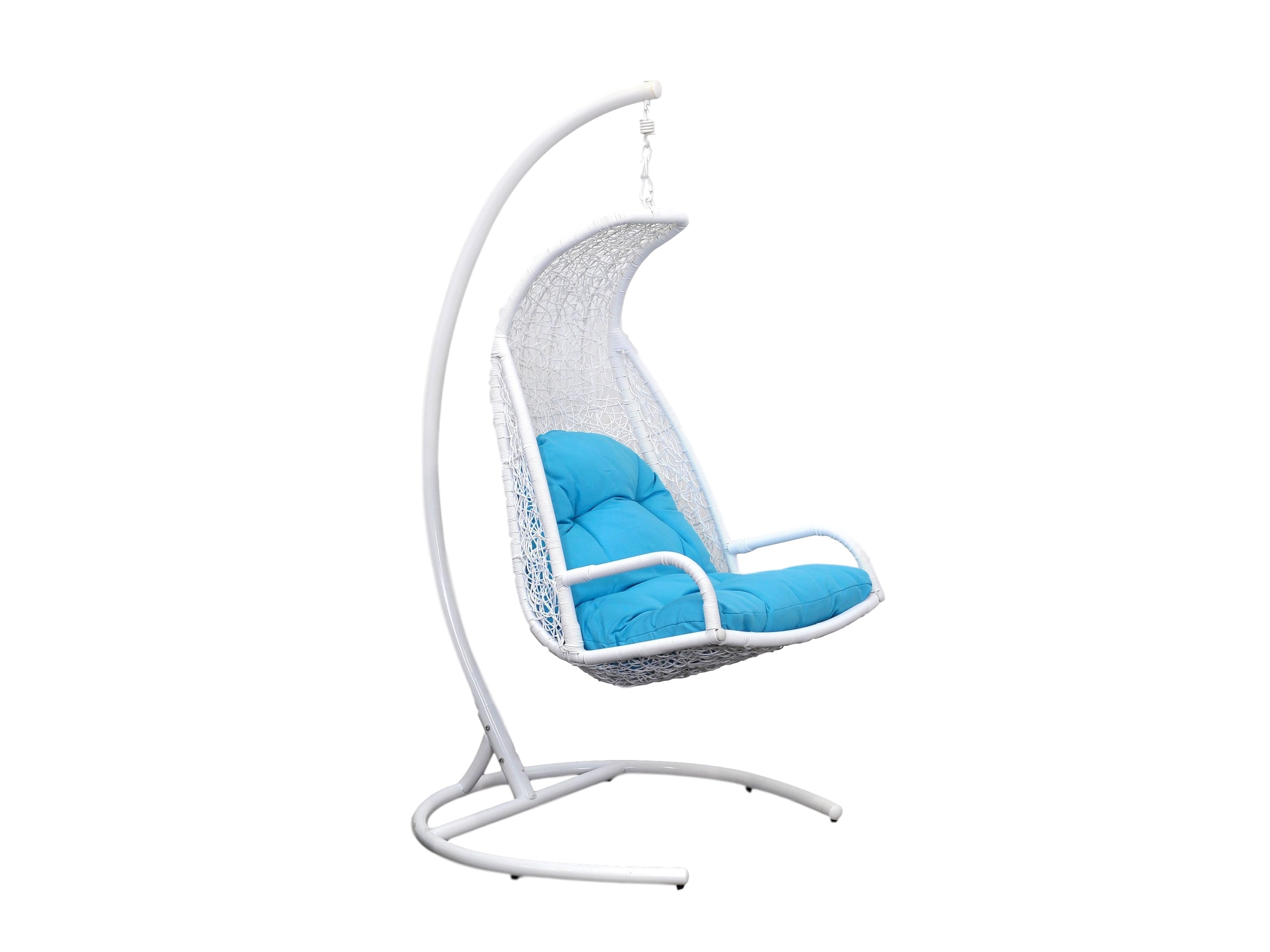 Кресло подвесное LagunaПодвесные кресла<br>Подвесное кресло Laguna выполнено из искусственного ротанга высокого качества. Искусственный ротанг круглой формы, что делает его очень похожим на натуральный ротанговый прут. Каркас опоры и самого кресла покрыт прочной, устойчивой к внешним воздействиям, порошковой краской. А мягкие подушки выполнены из водоотталкивающего материала. Основа кресла выполнена из стали, благодаря чему подвесное кресло может выдерживать вес до 120 кг. Когда Вы сидите  в кресле, общая нагрузка приходится не на ажурное плетение, а именно на металлический каркас.Материал каркаса: сталь.Материал плетения: PE-ротанг (искусственный ротанг) высокого качества (круглый).Выдерживаемая нагрузка: 120 кг.&amp;nbsp;Вес: 29 кг.&amp;nbsp;Конструкция кресла: сборно-разборное. Кресло состоит из трех частей: основание, опора и чаша. Сборка не требует специальных навыков.<br><br>kit: None<br>gender: None