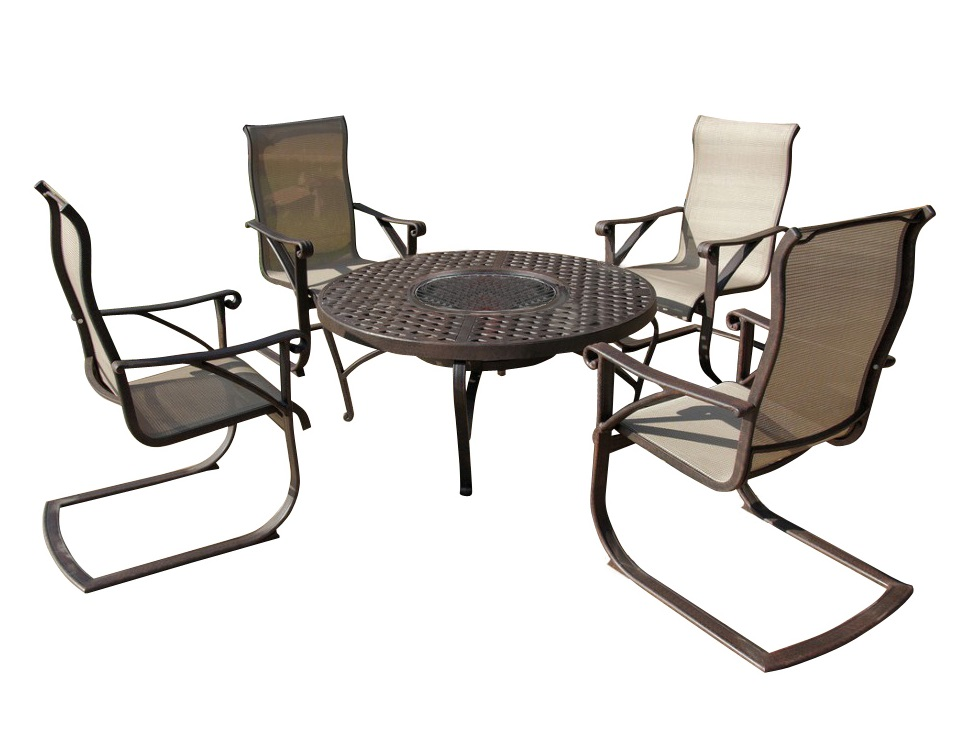 Набор мебели ЭТНАКомплекты уличной мебели<br>&amp;lt;div&amp;gt;В качестве «обивки» кресел применен текстилен – плетеное полотно из полиэстера с полихлорвиниловым покрытием. Этот материал устойчив к УФ-излучению, пропускает воздух, и плюс ко всему обладает отталкивающими от грязи свойствами.&amp;lt;/div&amp;gt;&amp;lt;div&amp;gt;Литой алюминий является более предпочтительным материалом для садовой мебели, поскольку он не только устойчив к коррозии, но и имеет легкий вес. Такая мебель лучше гармонирует с современными стилями, помимо классики, все чаще встречаются модели оригинального органического и футуристического дизайна. Преимущества мебели - способна выдержать любые капризы природы, можно даже оставить под открытым небом на зиму.&amp;lt;/div&amp;gt;&amp;lt;div&amp;gt;&amp;lt;br&amp;gt;&amp;lt;/div&amp;gt;&amp;lt;div&amp;gt;Размер стола: диаметр 121 см; диаметр чаши 56 см; в&amp;lt;span style=&amp;quot;line-height: 1.78571;&amp;quot;&amp;gt;ысота - 56 см.&amp;lt;/span&amp;gt;&amp;lt;/div&amp;gt;&amp;lt;div&amp;gt;Размер стульев (4 шт): глубина 55 см; ширина 51 см; высота подлокотников 55 см; высота спинки 106 см.&amp;lt;/div&amp;gt;<br><br>Material: Алюминий<br>Высота см: 56