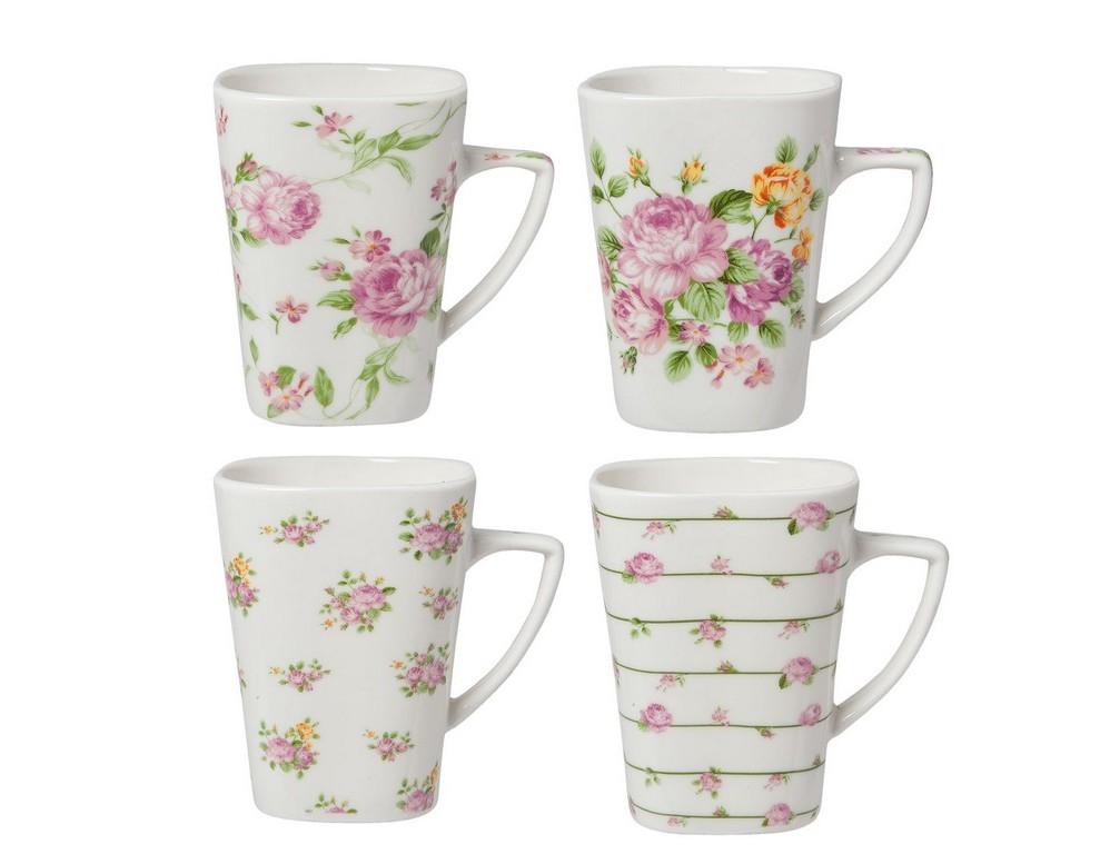 Набор чашек (4 шт)Чайные пары, чашки и кружки<br>Набор из четырех чашек в стиле шебби шик. Объем 0.2 литра.<br><br>Material: Хлопок<br>Width см: 11<br>Depth см: 8<br>Height см: 10