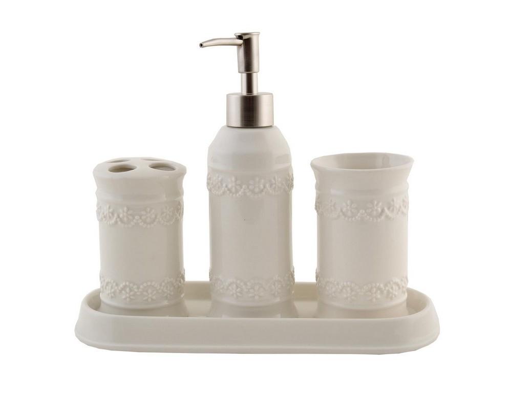 Набор для ванной (4 предмета)Аксессуары для ванной<br>Дозатор для мыла (высота 14 см, диаметр 3 см)&amp;lt;div&amp;gt;стакан для зубных щеток (высота 14 см, диаметр 3 см)&amp;lt;/div&amp;gt;&amp;lt;div&amp;gt;стакан для зубной пасты (высота 14 см, диаметр 3 см)&amp;lt;/div&amp;gt;&amp;lt;div&amp;gt;подставка (высота 2 см, диаметр 25 см).&amp;lt;/div&amp;gt;<br><br>Material: Керамика<br>Ширина см: 17<br>Высота см: 14<br>Глубина см: 7