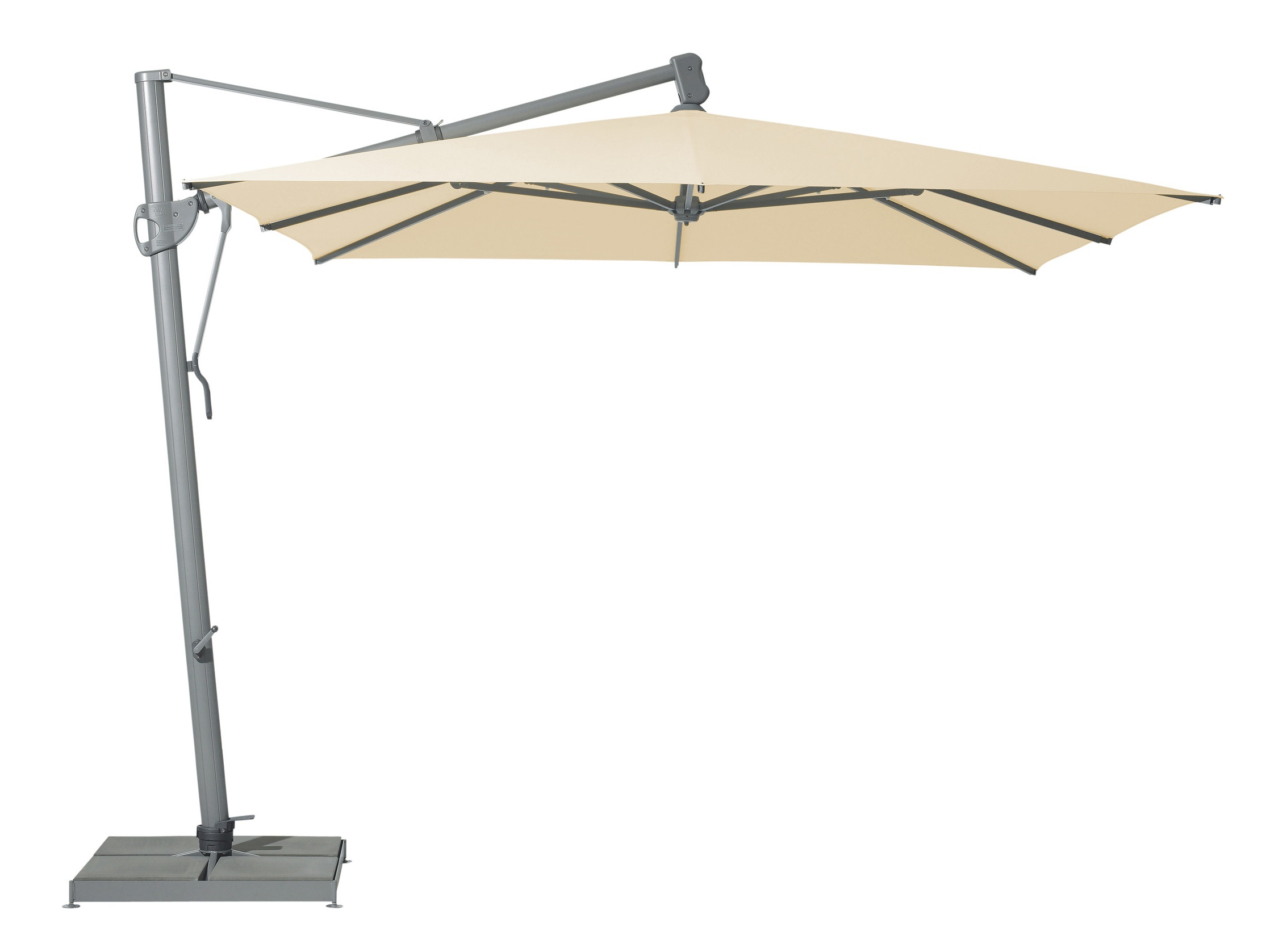 Уличный зонт SunflexТенты и зонты<br>Квадратный зонт с боковой опорой, каркас из алюминия. Вращается вокруг своей оси.&amp;amp;nbsp;&amp;lt;div&amp;gt;&amp;lt;br&amp;gt;&amp;lt;/div&amp;gt;&amp;lt;div&amp;gt;Плотность ткани 180 g/m2&amp;lt;/div&amp;gt;&amp;lt;div&amp;gt;Максимальная ветровая нагрузка 30км/ч&amp;lt;/div&amp;gt;&amp;lt;div&amp;gt;В комплект входит:  база 120кг, защитный чехол&amp;lt;/div&amp;gt;<br><br>Material: Алюминий<br>Ширина см: 300<br>Высота см: 270<br>Глубина см: 300