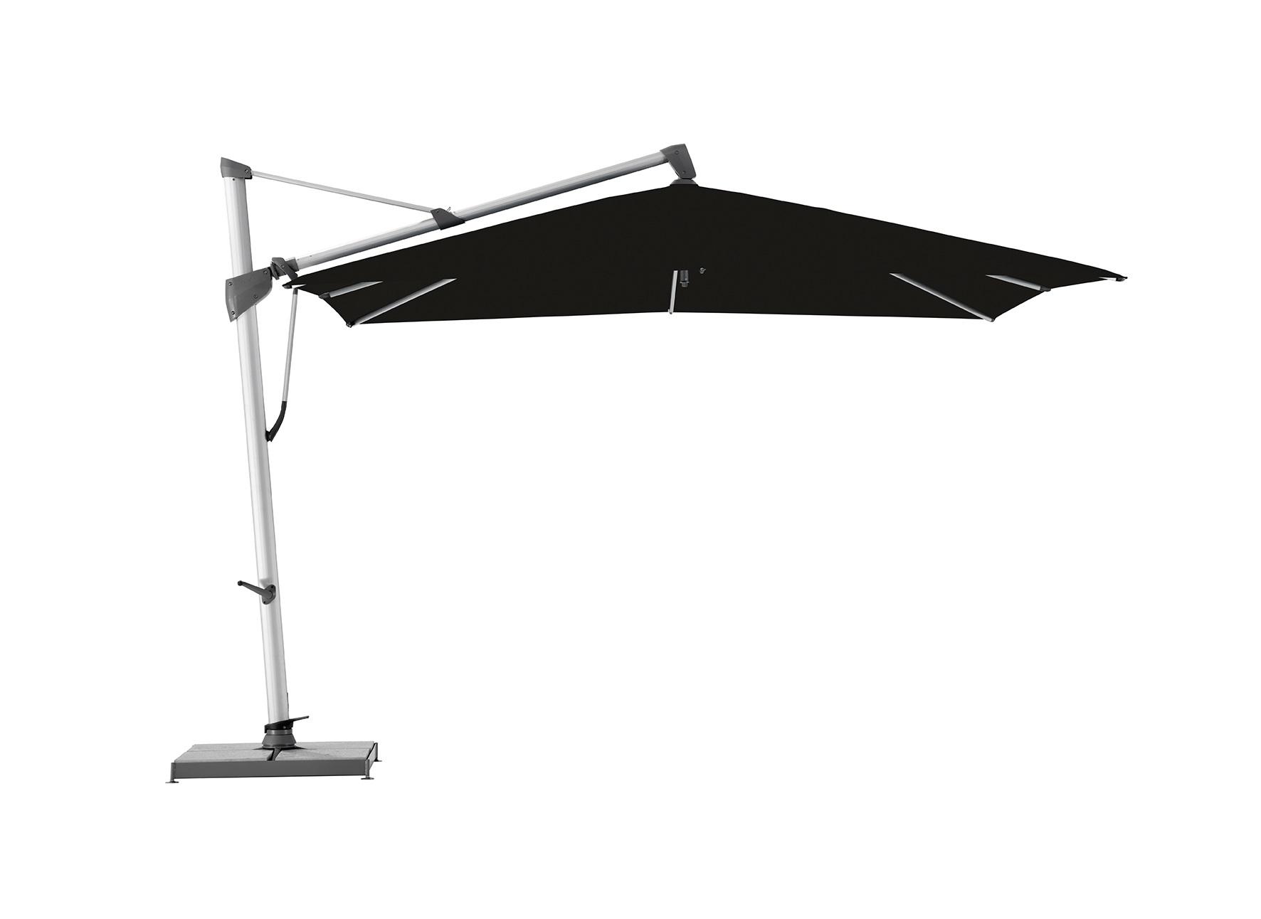 Уличный зонт Sombrano S+Тенты и зонты<br>Квадратный зонт с боковой опорой, каркас из анодированного алюминия. Вращается вокруг своей оси. Регулируется угол наклона купола.Плотность ткани 250 g/m2.Максимальная ветровая нагрузка 45км/ч.В комплект входит:  база 180кг,декоративная крышка для базы, защитный чехол.<br><br>kit: None<br>gender: None