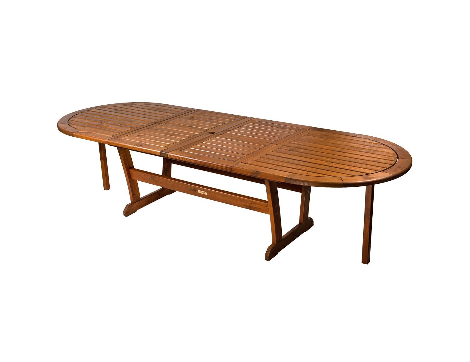 Обеденный стол SolbergaСтолы и столики для сада<br>Для большей вместимости за столом Вы можете разложить одну (общая ширина становится 249 см) &amp;amp;nbsp;или сразу две центральные вставки (общая ширина становится 302 см).<br><br>Material: Сосна<br>Length см: None<br>Width см: 196<br>Depth см: 110<br>Height см: 73