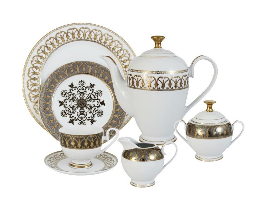 Чайный сервиз ВдохновениеЧайные сервизы<br>В комплект входят:&amp;amp;nbsp;12 чашек 0,2л, 12 блюдец, 12 тарелок 19см, сливочник 0,3л, сахарница с крышкой 0,35л, блюдо 27см, чайник с крышкой 1,5л<br><br>Material: Фарфор
