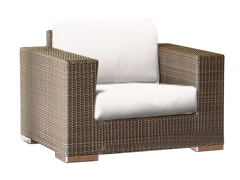 Кресло CUATROКресла для сада<br>Кресло кубической формы стоит на низких хромированных ножках.<br>Кресло с подушками, цвет подушек - canvas velum (бежевый)<br>Цвет плетения: mocca<br><br>Material: Искусственный ротанг<br>Ширина см: 109<br>Высота см: 76