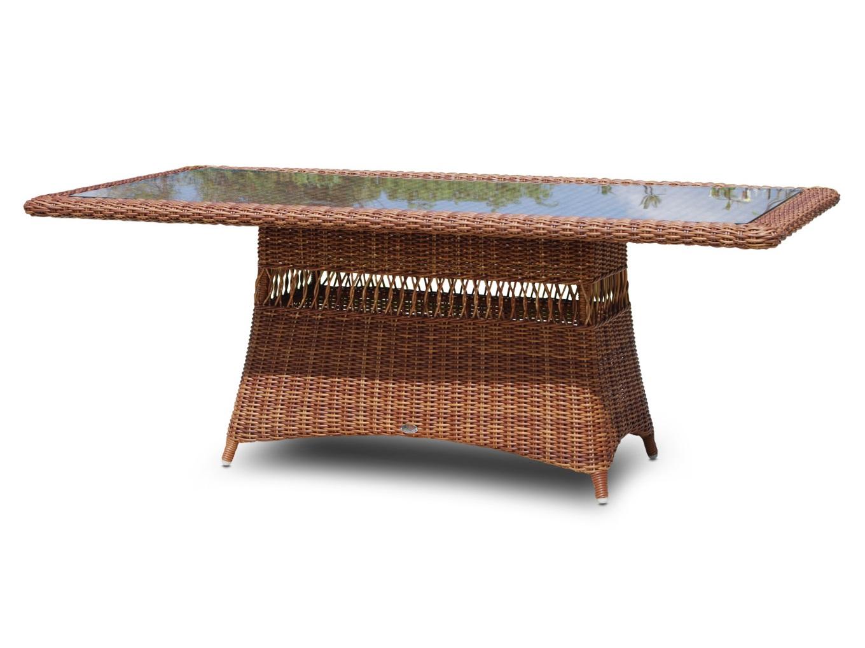 Стол EbonyСтолы и столики для сада<br>Столешница выполнена из стекла. Все предметы мебели выполнены из искусственного ротанга ручного плетения на легком алюминиевом каркасе. Садовая мебель Ebony полностью защищена от непогоды и солнечного излучения.<br>Цвет плетения: red pulut<br><br>Material: Ротанг<br>Length см: 200<br>Width см: 100<br>Depth см: None<br>Height см: 75<br>Diameter см: None