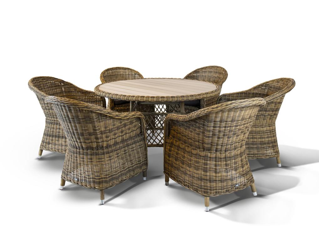 Обеденная группа РавеннаКомплекты уличной мебели<br>&amp;lt;div&amp;gt;&amp;lt;div&amp;gt;Обеденная группа Равенна на 6 персон обеспечит удобство и уют дружной компании. Прочный каркас стульев изготовлен из алюминия, что гарантирует продолжительный срок службы модели. Стулья с подлокотниками отличаются повышенным удобством, и комплектуются мягкими подушками для максимального комфорта. Ручное плетение из искусственного ротанга делает неповторимым и уникальным каждое изделие. Вместительный круглый стол выполнен из алюминиевого каркаса, оплетенного искуственным ротангом.&amp;lt;/div&amp;gt;&amp;lt;div&amp;gt;&amp;lt;br&amp;gt;&amp;lt;/div&amp;gt;&amp;lt;div&amp;gt;Материал: алюминиевый каркас, искусственный ротанг.&amp;amp;nbsp;&amp;lt;/div&amp;gt;&amp;lt;/div&amp;gt;&amp;lt;div&amp;gt;&amp;lt;span style=&amp;quot;font-size: 14px;&amp;quot;&amp;gt;Стулья комплектуются подушками.&amp;amp;nbsp;&amp;lt;/span&amp;gt;&amp;lt;br&amp;gt;&amp;lt;/div&amp;gt;&amp;lt;div&amp;gt;&amp;lt;br&amp;gt;&amp;lt;/div&amp;gt;&amp;lt;div&amp;gt;&amp;lt;br&amp;gt;&amp;lt;/div&amp;gt;<br><br>Material: Искусственный ротанг<br>Ширина см: 204<br>Высота см: 74<br>Глубина см: 88