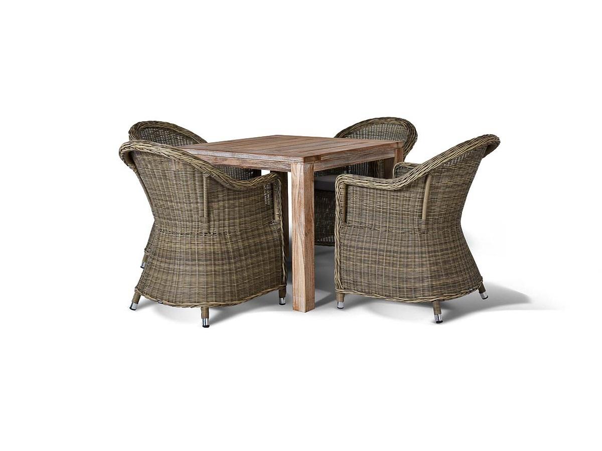 Обеденная группа ЛеричиКомплекты уличной мебели<br>&amp;lt;div&amp;gt;&amp;lt;div&amp;gt;Стильная группа Леричи на 4 персоны обеспечит удобство и уют обедающей компании. Прочный каркас стульев изготовлен из алюминия, что гарантирует продолжительный срок службы модели. Все стулья с подлокотниками отличаются повышенным удобством за счет изогнутой спинки и комплектуются мягкими подушками для максимального комфорта. Ручное плетение из искусственного ротанга делает неповторимым и уникальным каждое изделие. Вместительный стол квадратной формы выполнен из благородного тикового дерева, которое славится своей долговечностью. Красивая текстура натурального дерева оживит интерьер и создаст комфортную атмосферу уюта. В солнечных лучах плетение приобретает более светлый и яркий оттенок.&amp;lt;/div&amp;gt;&amp;lt;div&amp;gt;&amp;lt;br&amp;gt;&amp;lt;/div&amp;gt;&amp;lt;div&amp;gt;Материал: алюминиевый каркас, искусственный ротанг.&amp;amp;nbsp;&amp;lt;/div&amp;gt;Подушки входят в комплект.&amp;lt;/div&amp;gt;<br><br>Material: Искусственный ротанг<br>Ширина см: 204<br>Высота см: 74<br>Глубина см: 88