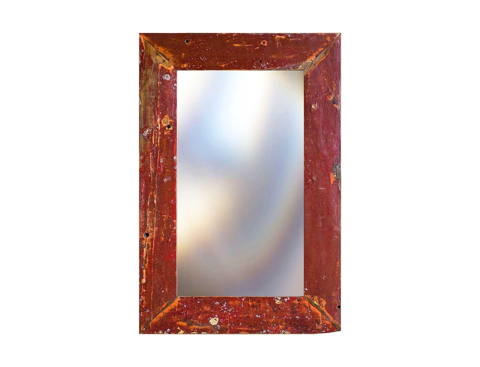 Зеркало Свет мой зеркальцеНастенные зеркала<br>Зеркало выполнено из фрагментов настоящего рыболовецкого судна, возраст которого 20-40 лет. Окрас сохранён оригинальный.<br><br>Material: Тик<br>Width см: 80<br>Depth см: 4<br>Height см: 120