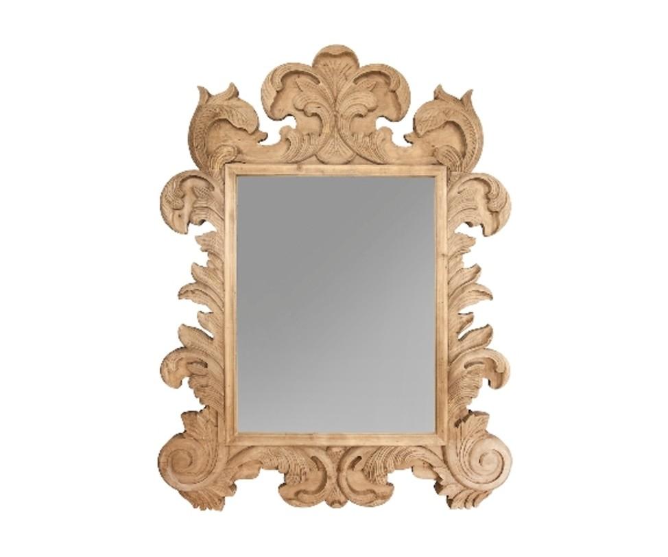 Зеркало ФлорентинаНастенные зеркала<br>Великолепное зеркало отсылает нас к эпохе Ренессанса, которая ассоциируется с легендарной Флоренцией. Выполненное из вручную обработанной древесины, оно выглядит весьма необычно. Плавные изгибы резных узоров удивляют богатством форм и ювелирностью исполнения. Романтизм, благородство и изысканность зеркала делают его неотъемлемой частью традиционных тосканских или античных интерьеров.<br><br>Material: Дерево<br>Length см: None<br>Width см: 150<br>Depth см: 6<br>Height см: 200<br>Diameter см: None