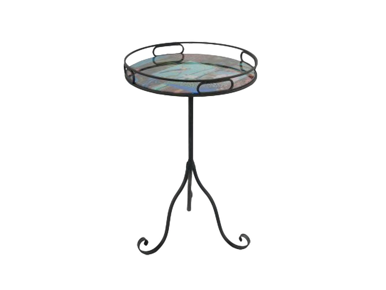 Столик для лампыПриставные столики<br>Круглый столик на металлической ножке. Столешница из стекла с рисунком.<br><br>Material: Стекло<br>Высота см: 73