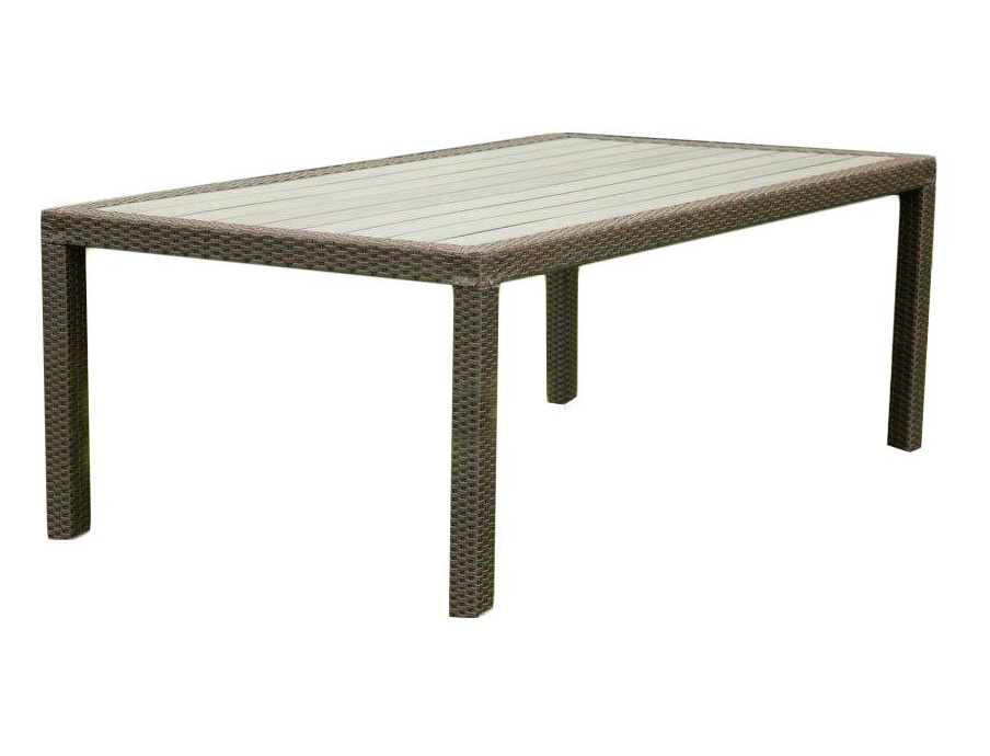 Стол LavrasСтолы и столики для сада<br>Лаконичный по форме обеденный стол. Реечная столешница в плетеной из искусственного ротанга раме.<br><br>Material: Ротанг<br>Length см: None<br>Width см: 205<br>Depth см: 105<br>Height см: 75