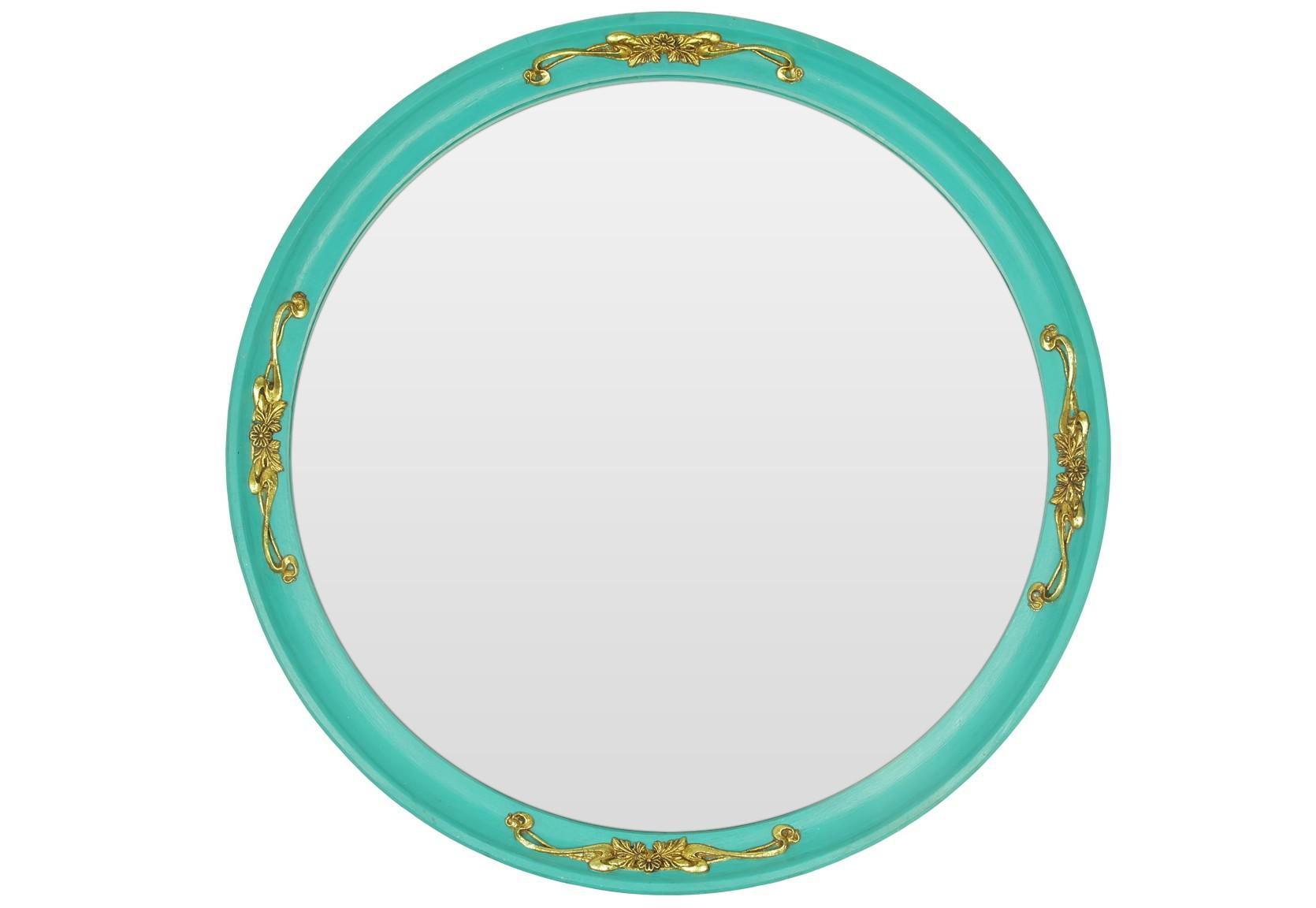 Зеркало ручной работы Для принцессыНастенные зеркала<br>На создание этого зеркала автора вдохновил утонченный стиль «Тиффани», который уже много лет пленяет сердца девушек по всему миру. Рядом с ним вы почувствуете себя легендарной Одри Хепберн – очаровательной и женственной. Нежный бирюзовый цвет рамы и золотые декоративные украшения помогут создать в вашем доме гармоничную атмосферу и наполнить пространство вокруг романтикой. Благодаря большому размеру и круглой форме, это зеркало станет идеальным дополнением спальни настоящей модницы.&amp;amp;nbsp;&amp;lt;div&amp;gt;&amp;lt;br&amp;gt;&amp;lt;/div&amp;gt;&amp;lt;div&amp;gt;Материалы: основа - массив дерева; рама - натуральное дерево; зеркальное полотно - классическое зеркало серебряной амальгамы.&amp;lt;/div&amp;gt;<br><br>Material: Дерево<br>Ширина см: 75<br>Высота см: 75<br>Глубина см: 4