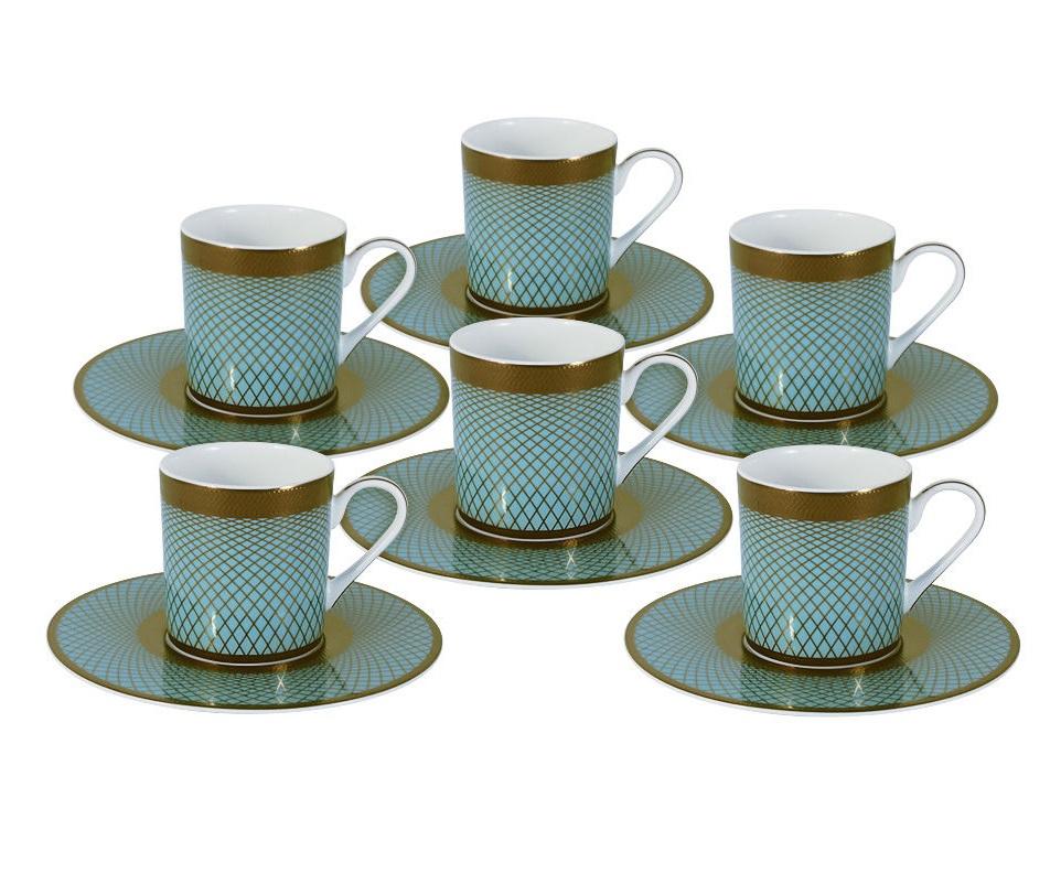 """Кофейный набор """"Бирюза"""": 6 чашек + 6 блюдец"""