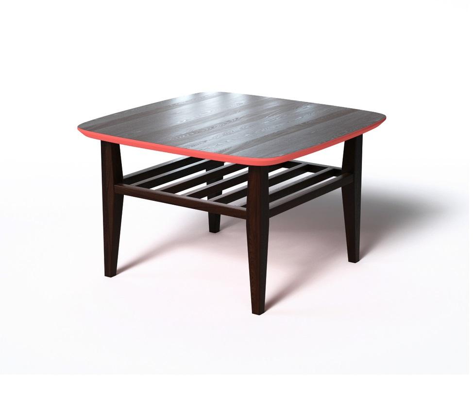 Журнальный стол WILSONЖурнальные столики<br>Журнальный столик WILSON выполнен в скандинавском эко-стиле. Особое внимание стоит обратить на внешнюю отделку. Основная часть выполнена &amp;amp;nbsp;из натурального дерева темно-коричневого цвета. Яркий акцент достигается за счет оригинальной отделки кромки столешницы. Она окрашена в красный, создавая цветовой контраст. За практичность отвечают дополнительная реечная полка и скругленные углы.<br><br>Material: Дерево<br>Ширина см: 70<br>Высота см: 45