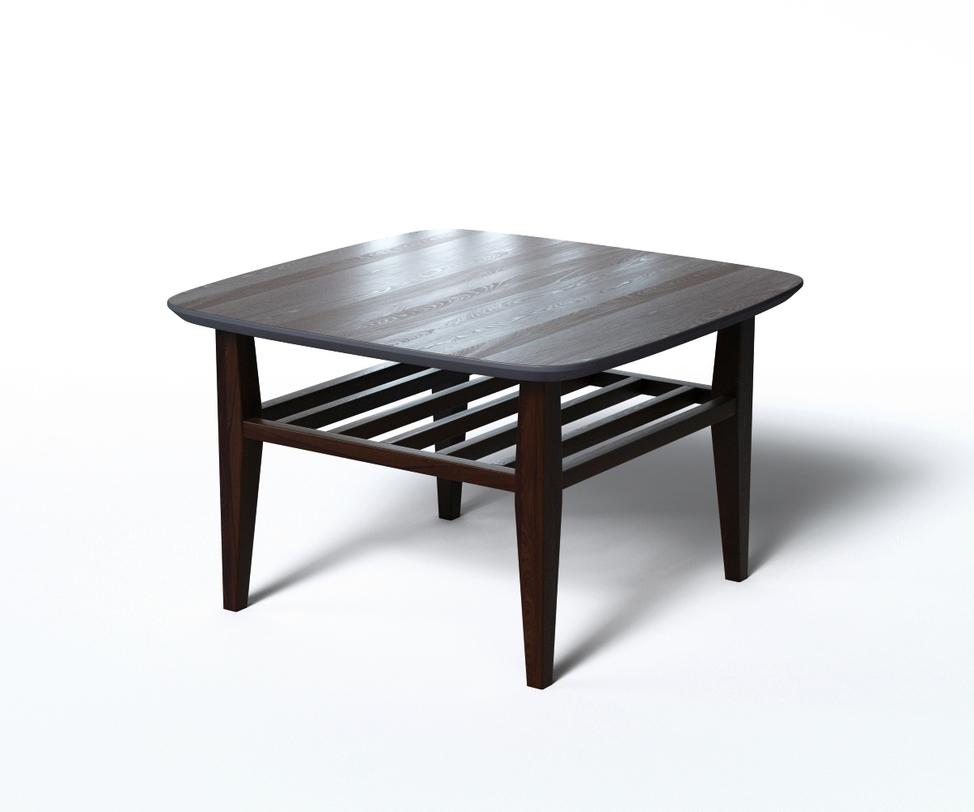 Журнальный стол WILSONЖурнальные столики<br>Лаконичный столик из натурального дерева исполнен в 2 оттенках черного цвета. &amp;amp;nbsp;Основная часть выполнена &amp;amp;nbsp;в популярном цвете венге. &amp;amp;nbsp;А нижняя поверхность и кромка столешницы выкрашена в матовый черный цвет, придающий столику строгий и сдержанный вид. &amp;amp;nbsp;За практичность отвечают дополнительная реечная полка и скругленные углы. Легко сочетается в разных интерьерах: от скандинавского эко-стиля до монохромного хай-тека.<br><br>Material: Дерево<br>Length см: 70<br>Width см: 70<br>Depth см: None<br>Height см: 45<br>Diameter см: None