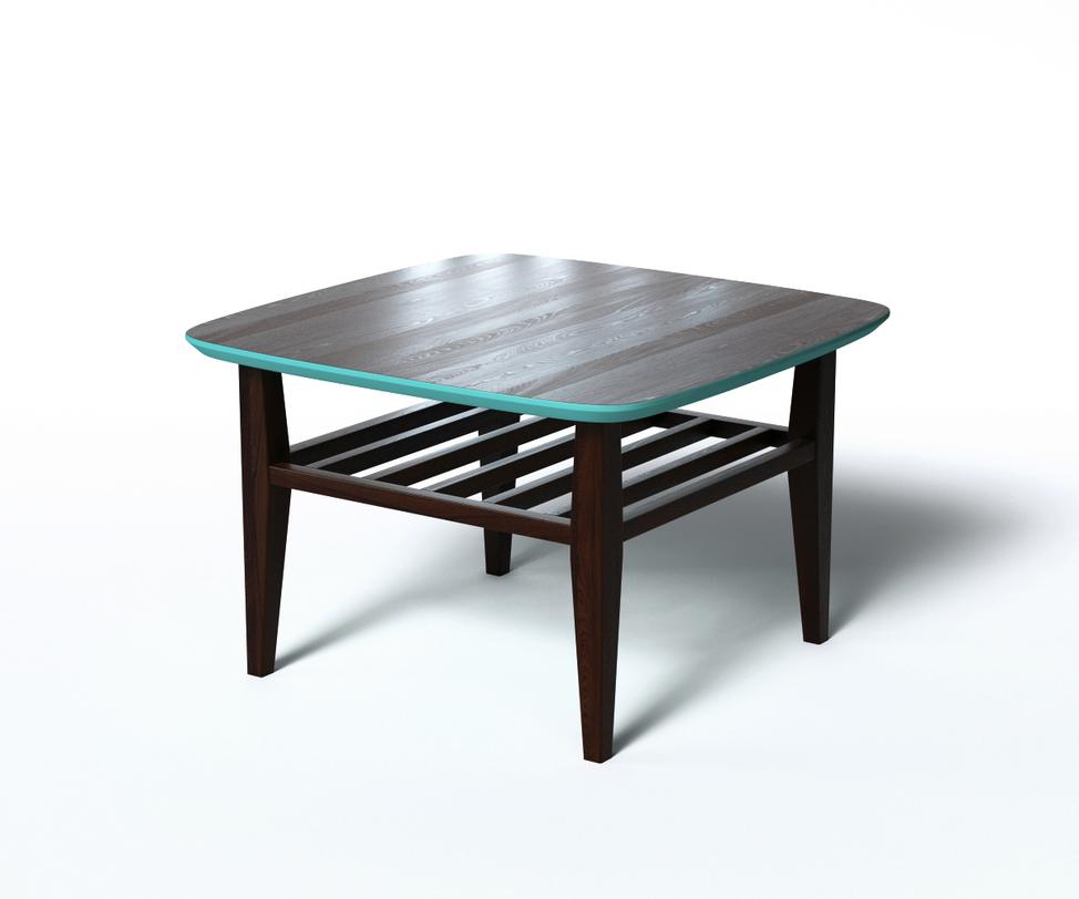 Журнальный стол WILSONЖурнальные столики<br>Журнальный столик WILSON выполнен в скандинавском эко-стиле и оформлен контрастной отделкой. Основная часть изготовлена из натурального дерева в популярном цвете венге. Оригинальный внешний вид придает голубой низ и кромка столешницы. За счет подобной цветовой обработки интерьер станет ярче. За практичность отвечают дополнительная реечная полка и скругленные углы.<br><br>Material: Дерево<br>Length см: 70<br>Width см: 70<br>Depth см: None<br>Height см: 45<br>Diameter см: None