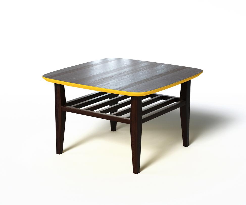 Журнальный стол WILSONЖурнальные столики<br>Журнальный столик WILSON выполнен в скандинавском эко-стиле с яркой контрастной отделкой. Основная часть выполнена из натурального дерева темно-коричневого цвета. Желтая кромка столешницы повторяется и в нижней части, что открывает возможности экспериментов &amp;amp;nbsp;с внешним декором. За практичность отвечают дополнительная реечная полка и скругленные углы.<br><br>Material: Дерево<br>Length см: 70<br>Width см: 70<br>Depth см: None<br>Height см: 45<br>Diameter см: None