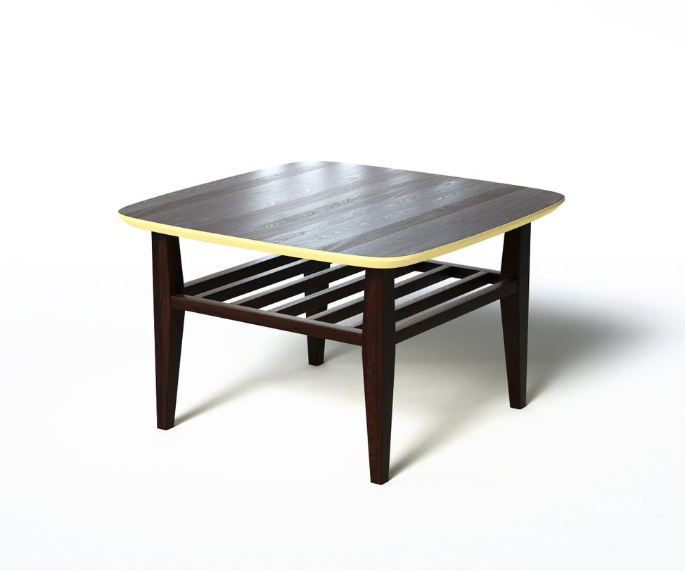 Журнальный стол WILSONЖурнальные столики<br>Журнальный столик WILSON выполнен в скандинавском эко-стиле. Особое внимание стоит обратить на внешнюю отделку. Основная часть выполнена &amp;amp;nbsp;из натурального дерева темно-коричневого цвета. Желтая кромка столешницы добавит в интерьер яркие нотки и позволит поэкспериментировать с внешним декором. За практичность отвечают дополнительная реечная полка и скругленные углы.<br><br>Material: Дерево<br>Length см: 70<br>Width см: 70<br>Depth см: None<br>Height см: 45<br>Diameter см: None